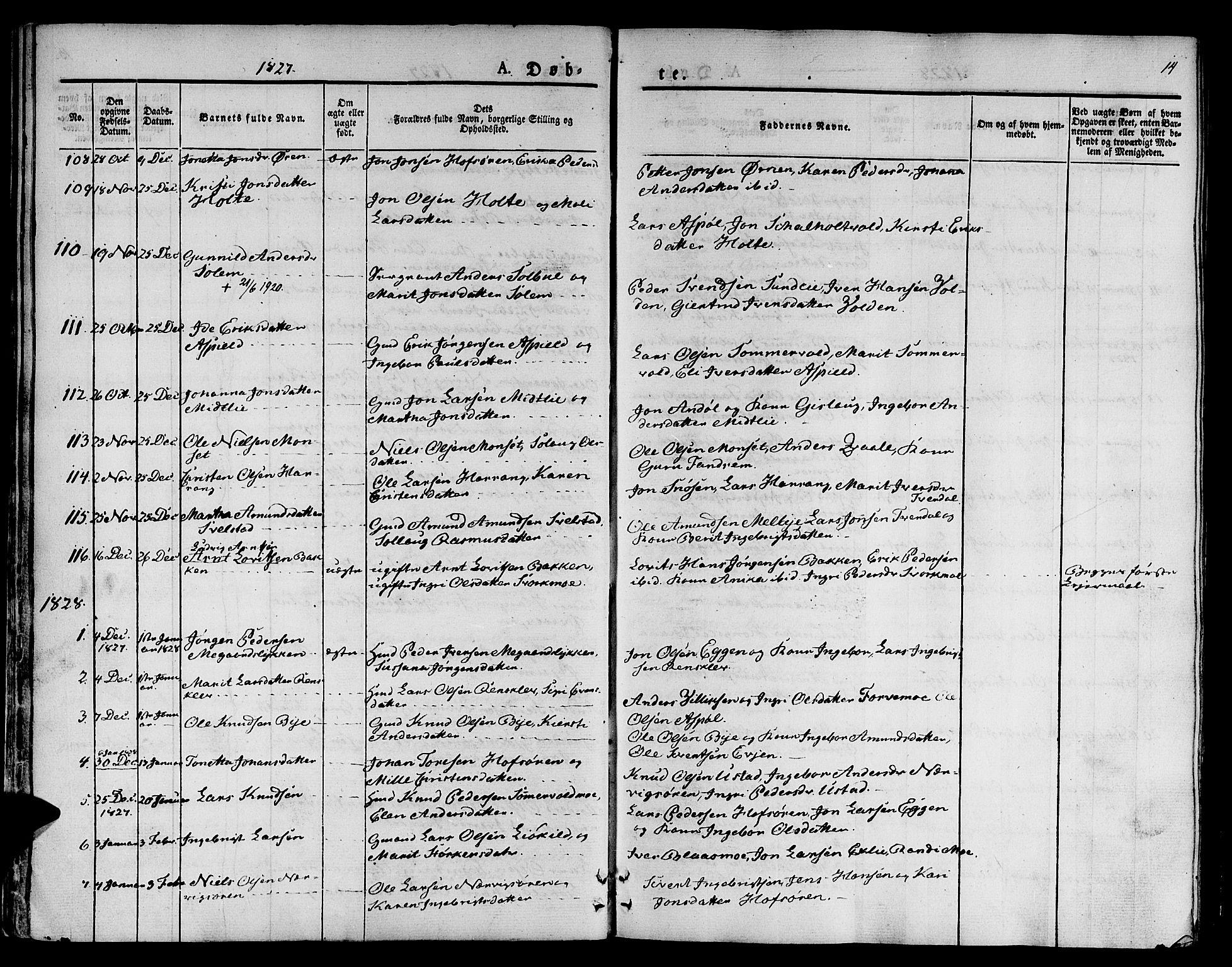 SAT, Ministerialprotokoller, klokkerbøker og fødselsregistre - Sør-Trøndelag, 668/L0804: Ministerialbok nr. 668A04, 1826-1839, s. 14