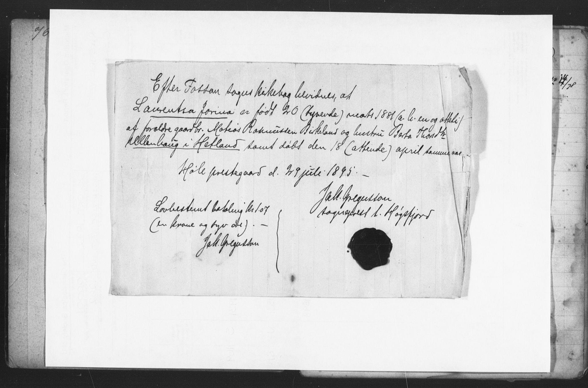 SAST, Hetland sokneprestkontor, 70/705BA/L0002: Lysningsprotokoll nr. 2, 1890-1898