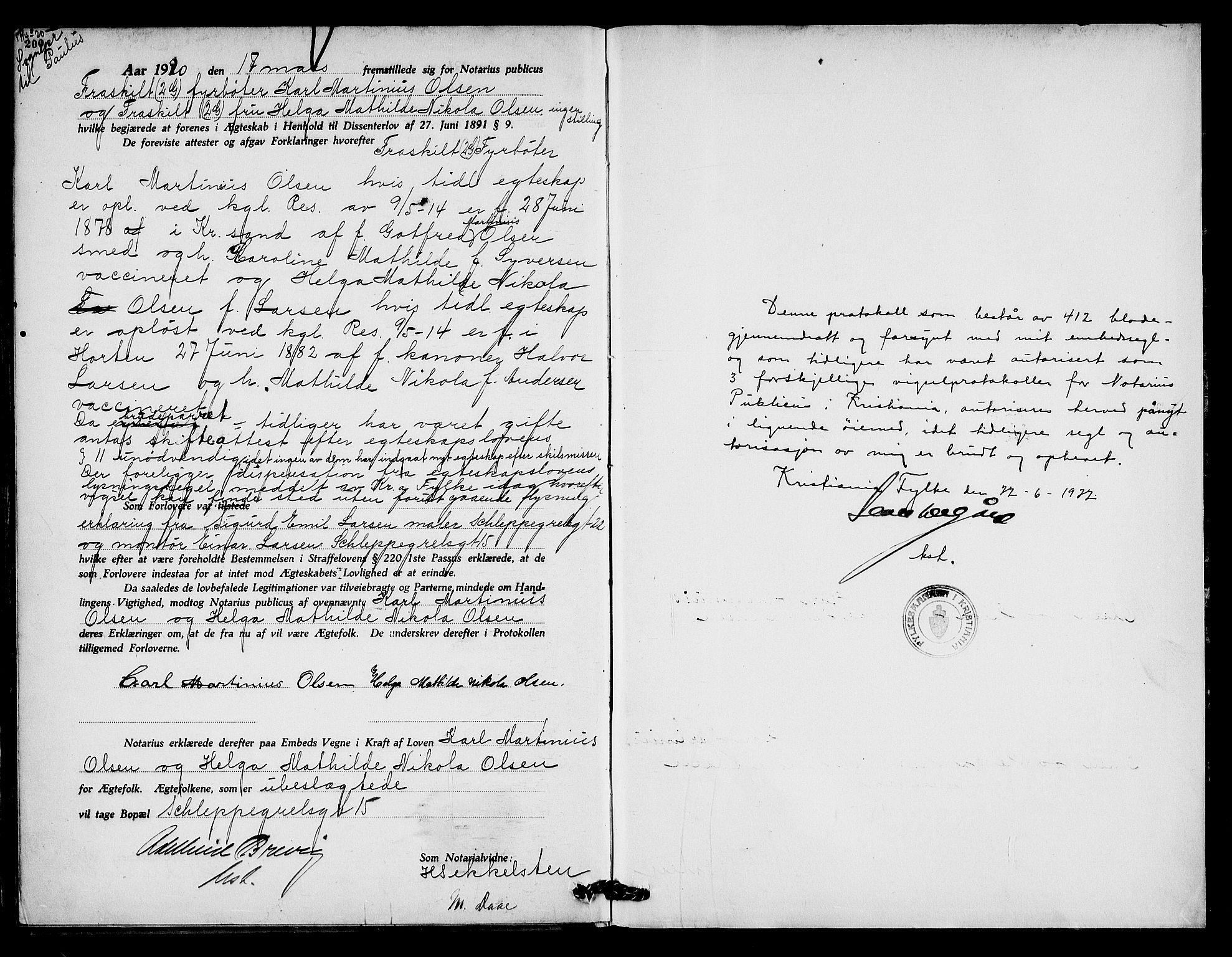SAO, Oslo byfogd avd. I, L/Lb/Lbb/L0013: Notarialprotokoll, rekke II: Vigsler, 1919-1920, s. 200