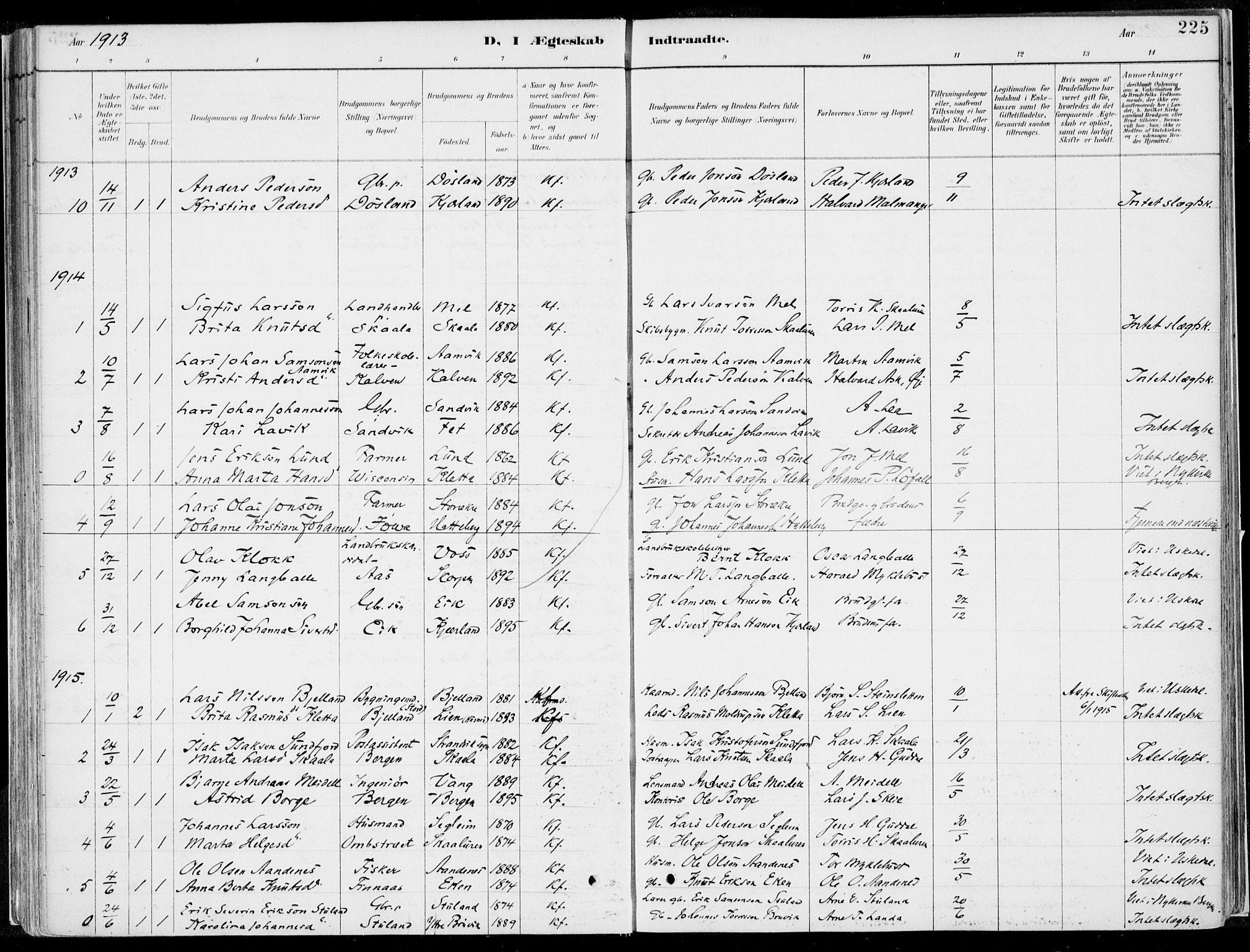 SAB, Kvinnherad Sokneprestembete, H/Haa: Ministerialbok nr. B  1, 1887-1921, s. 225