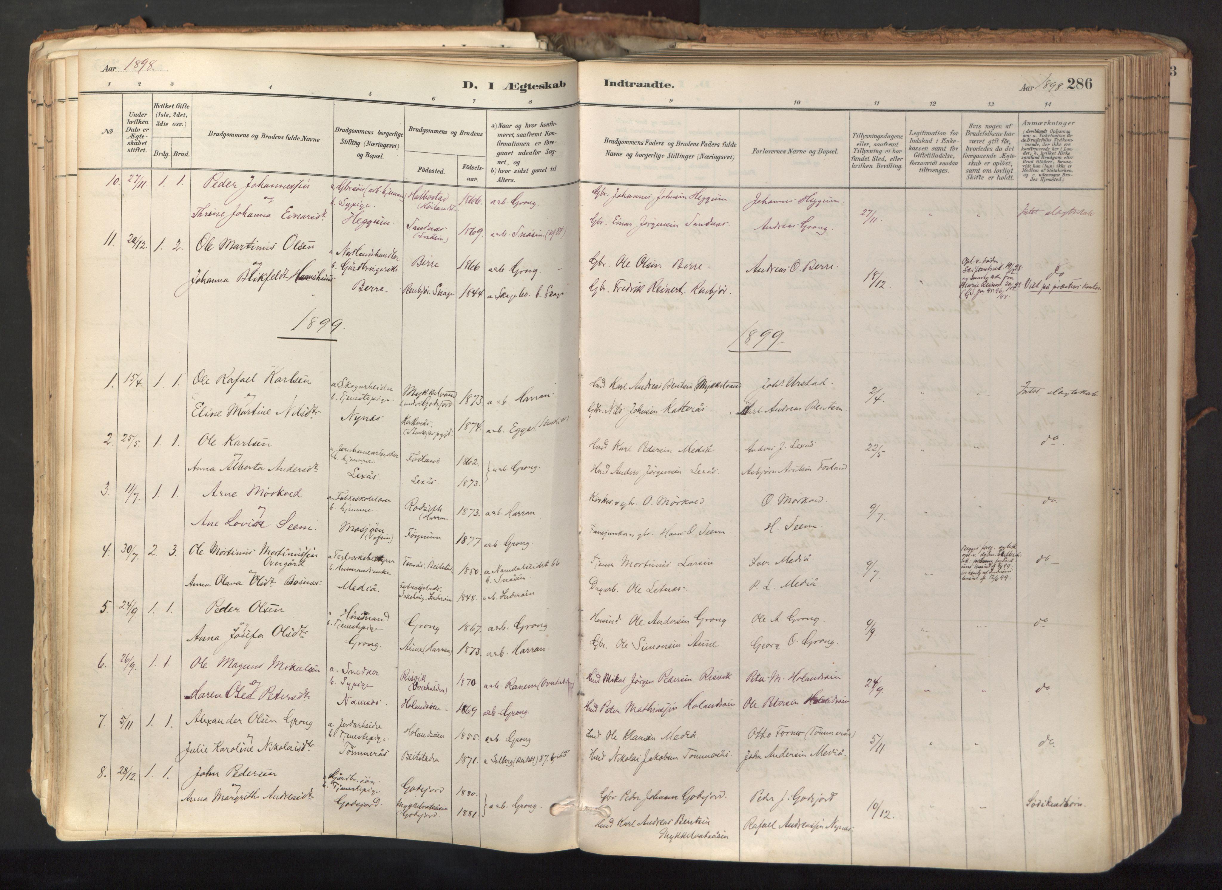 SAT, Ministerialprotokoller, klokkerbøker og fødselsregistre - Nord-Trøndelag, 758/L0519: Ministerialbok nr. 758A04, 1880-1926, s. 286