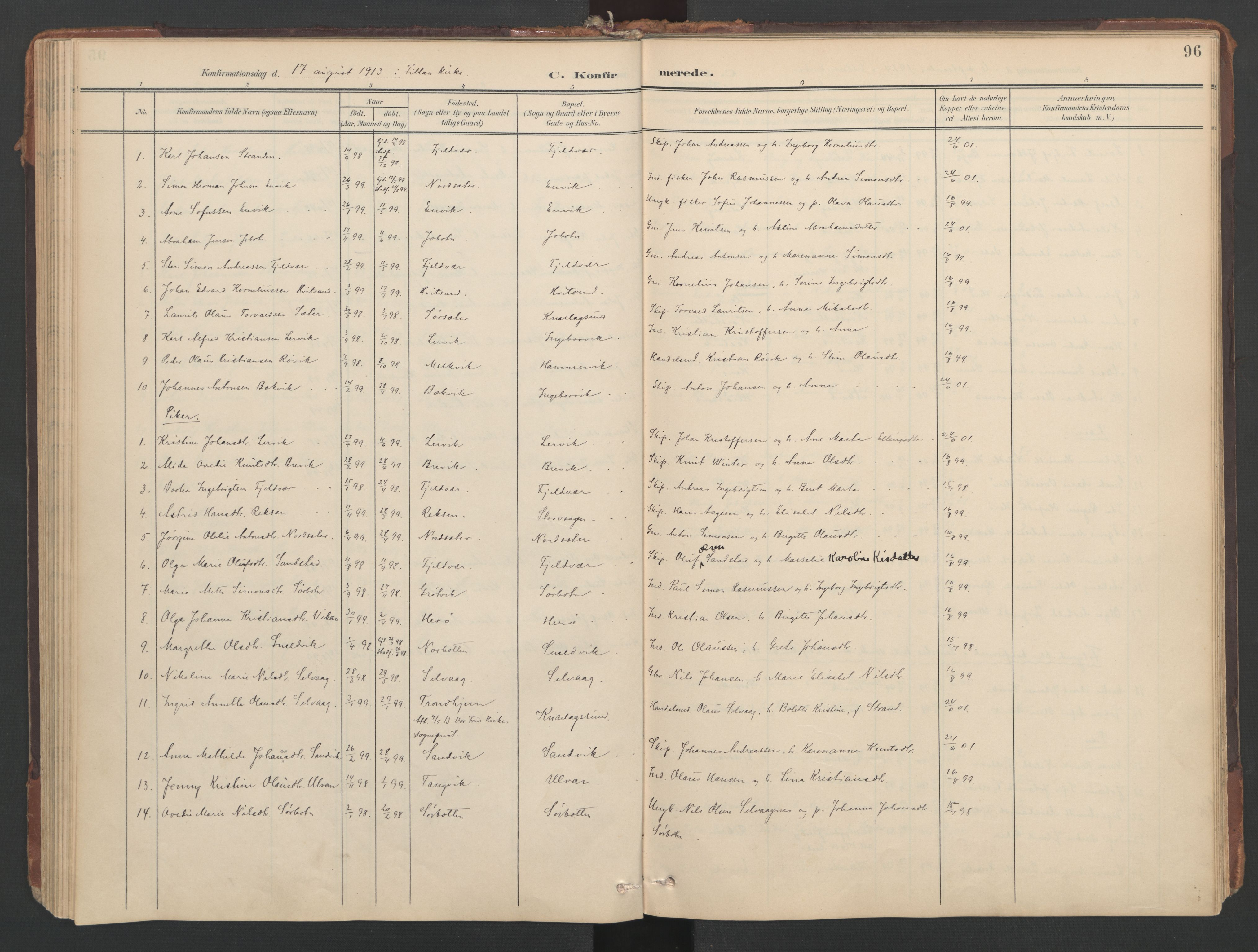 SAT, Ministerialprotokoller, klokkerbøker og fødselsregistre - Sør-Trøndelag, 638/L0568: Ministerialbok nr. 638A01, 1901-1916, s. 96
