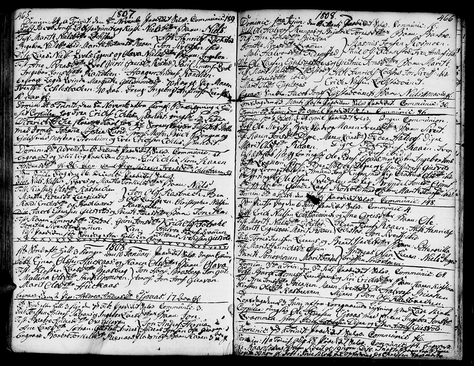 SAT, Ministerialprotokoller, klokkerbøker og fødselsregistre - Sør-Trøndelag, 606/L0282: Ministerialbok nr. 606A02 /3, 1781-1817, s. 465-466