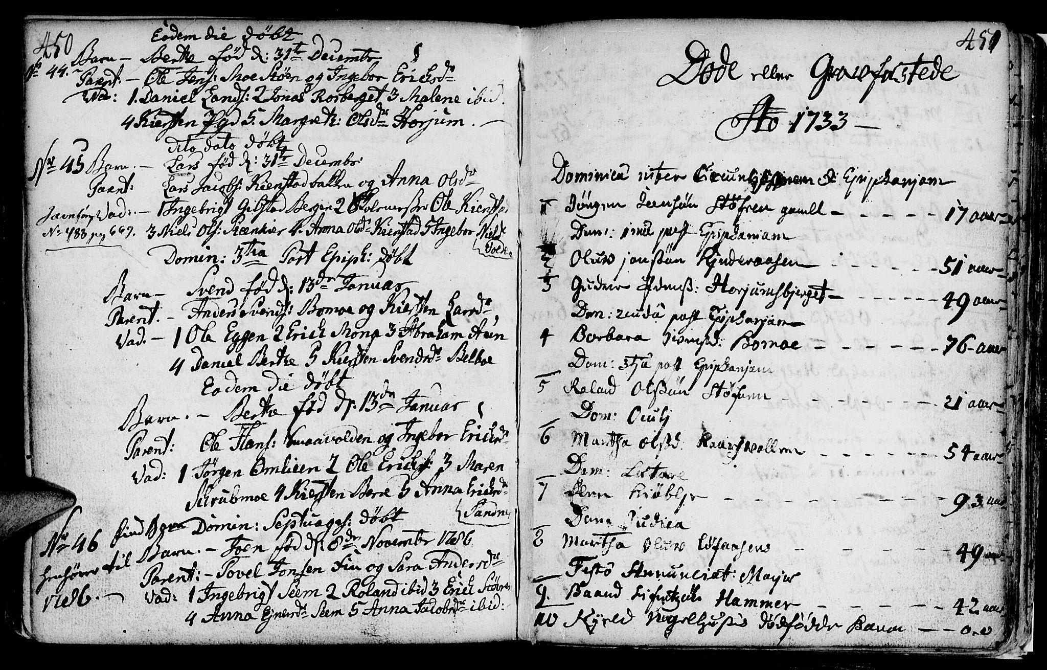 SAT, Ministerialprotokoller, klokkerbøker og fødselsregistre - Nord-Trøndelag, 749/L0467: Ministerialbok nr. 749A01, 1733-1787, s. 450-451