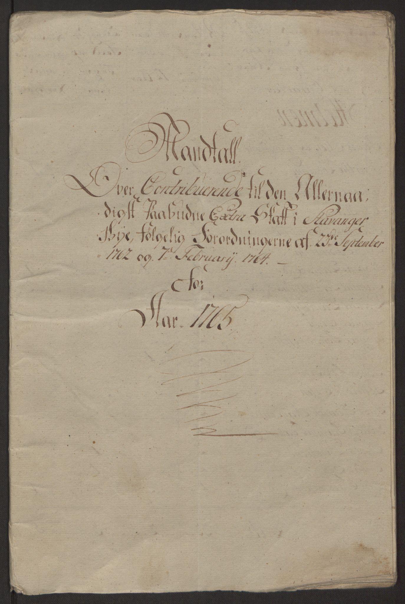 RA, Rentekammeret inntil 1814, Reviderte regnskaper, Byregnskaper, R/Ro/L0305: [O6] Kontribusjonsregnskap, 1762-1768, s. 85