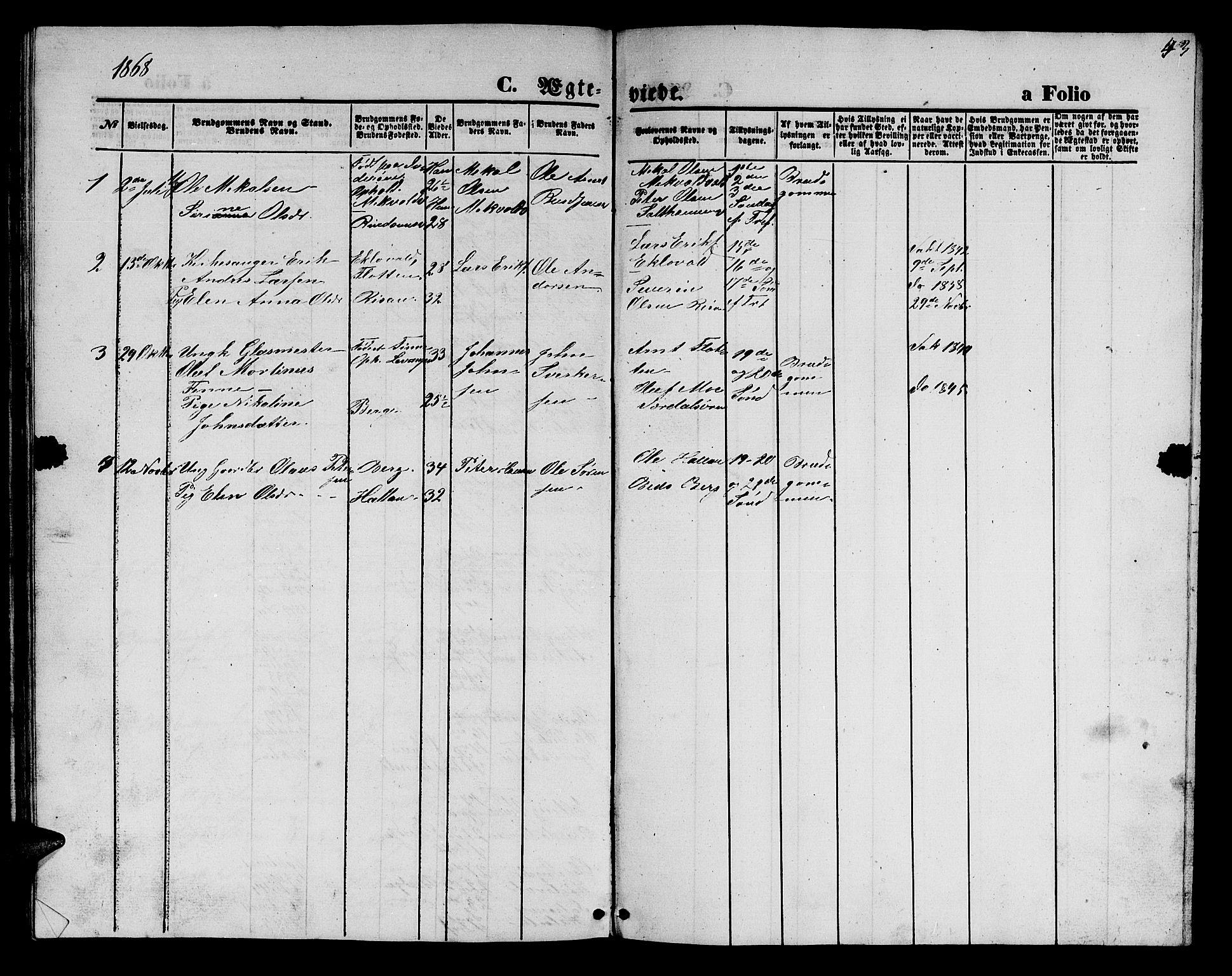 SAT, Ministerialprotokoller, klokkerbøker og fødselsregistre - Nord-Trøndelag, 726/L0270: Klokkerbok nr. 726C01, 1858-1868, s. 43