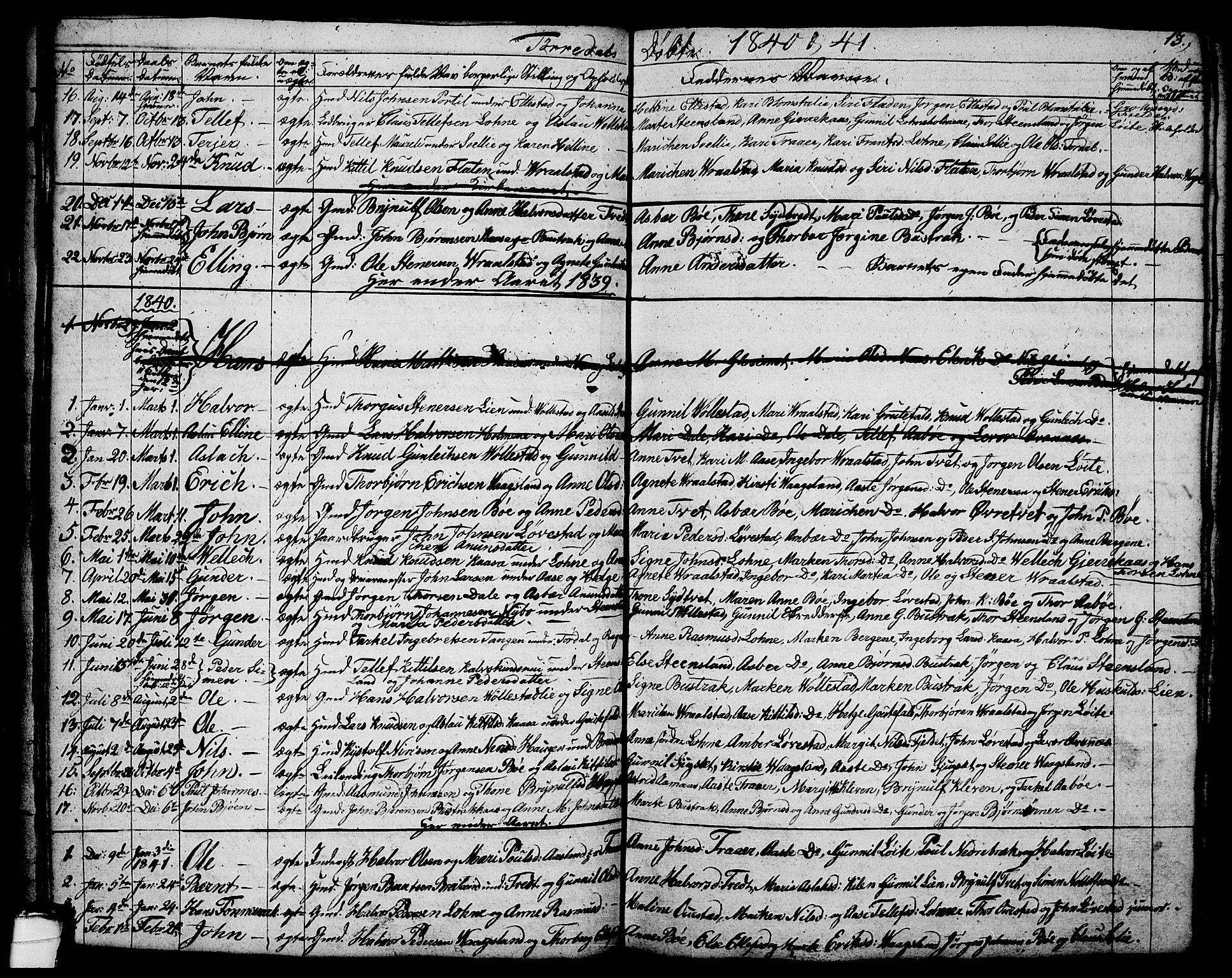 SAKO, Drangedal kirkebøker, G/Ga/L0001: Klokkerbok nr. I 1 /2, 1814-1856, s. 13