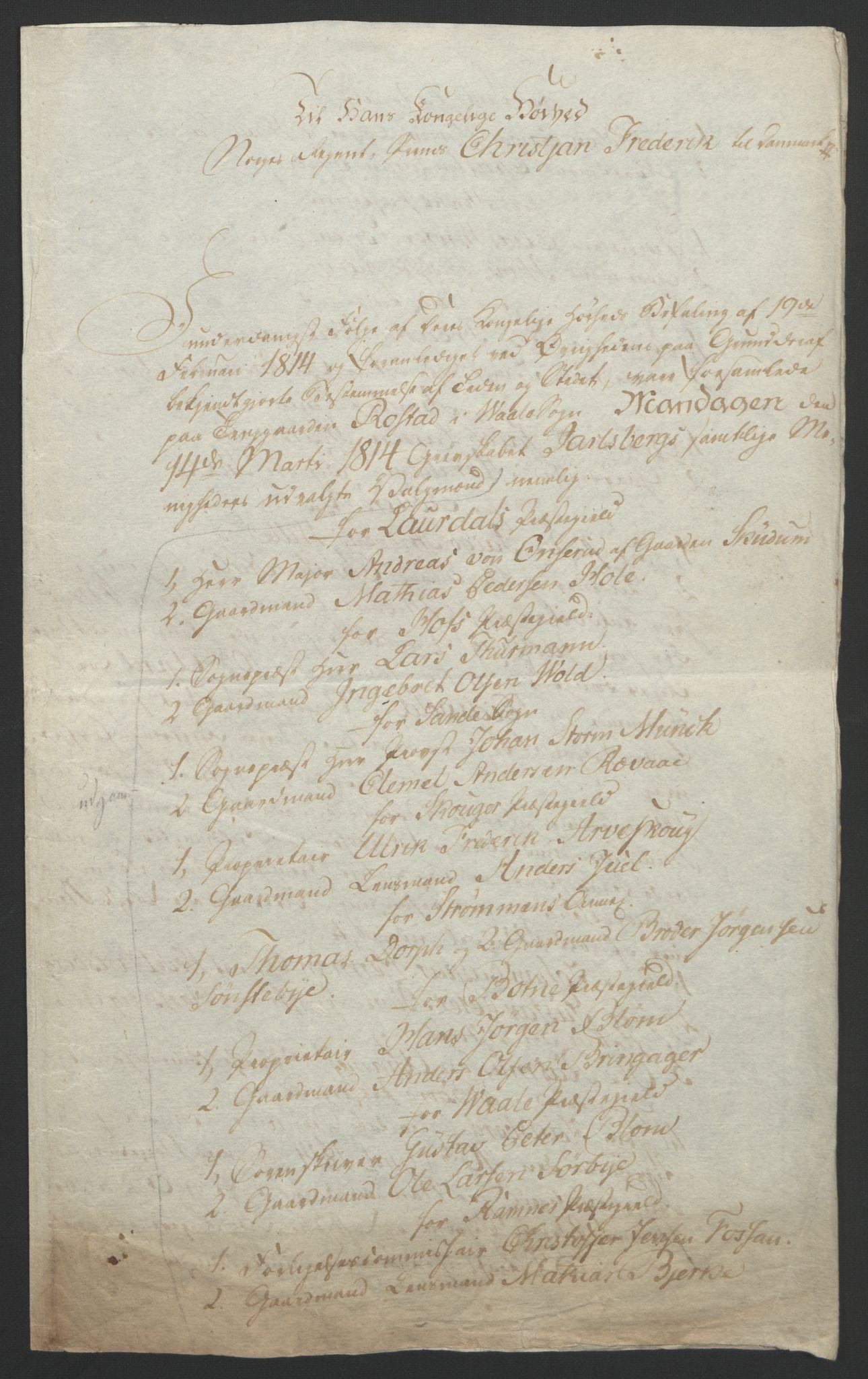 RA, Statsrådssekretariatet, D/Db/L0008: Fullmakter for Eidsvollsrepresentantene i 1814. , 1814, s. 3