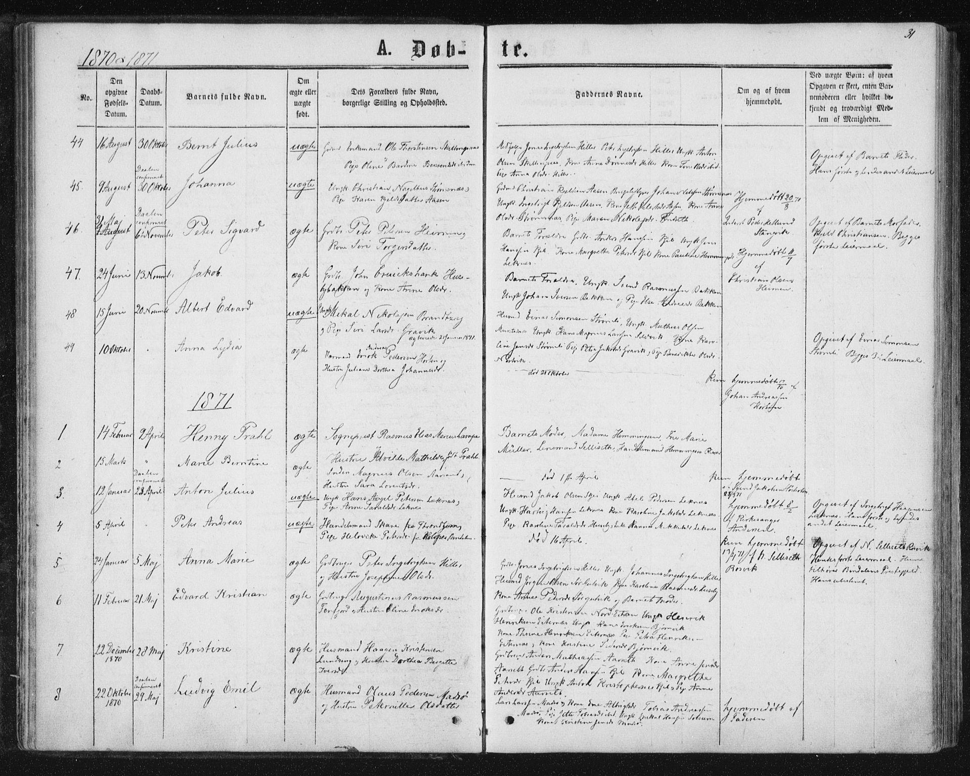 SAT, Ministerialprotokoller, klokkerbøker og fødselsregistre - Nord-Trøndelag, 788/L0696: Ministerialbok nr. 788A03, 1863-1877, s. 31