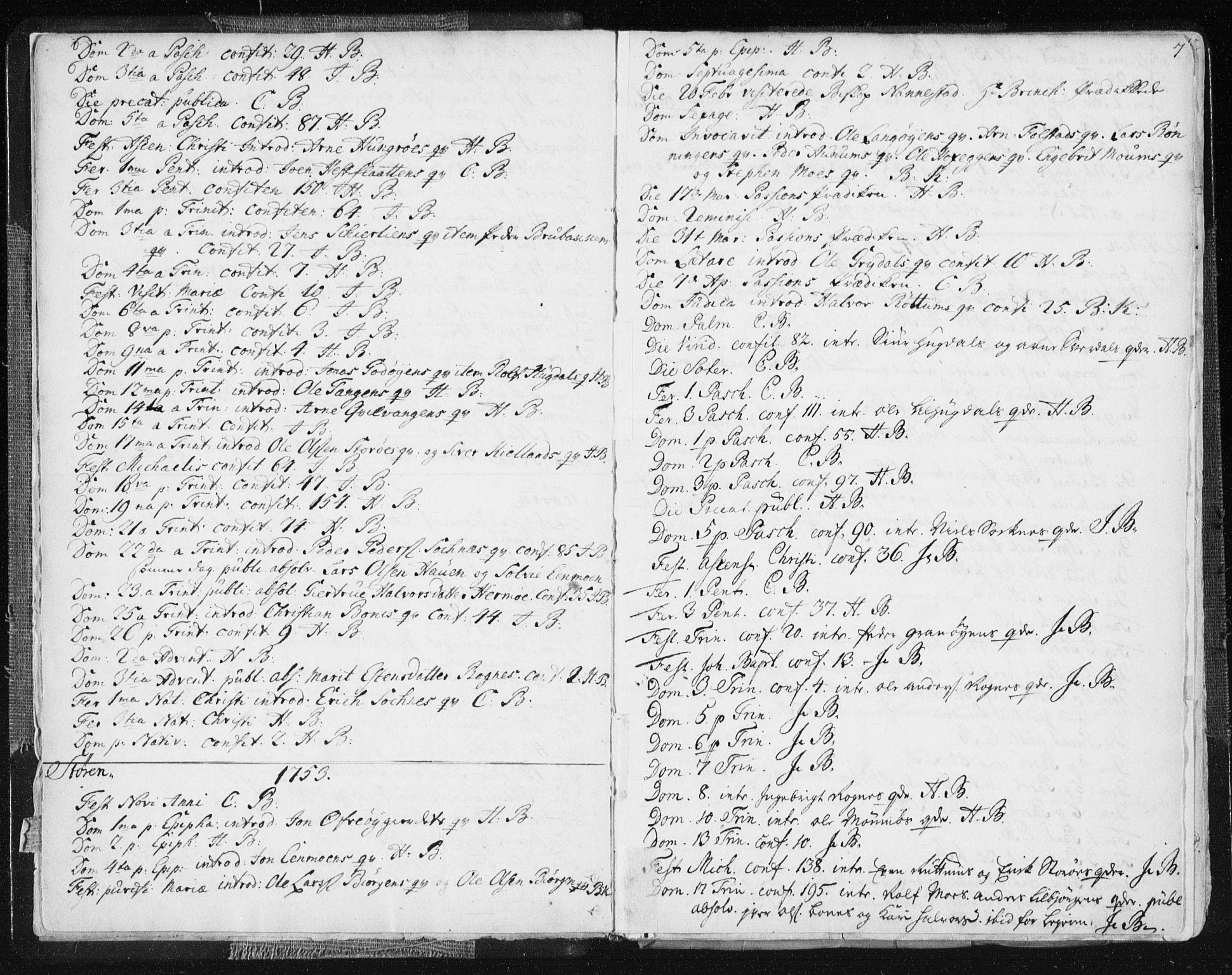 SAT, Ministerialprotokoller, klokkerbøker og fødselsregistre - Sør-Trøndelag, 687/L0991: Ministerialbok nr. 687A02, 1747-1790, s. 7