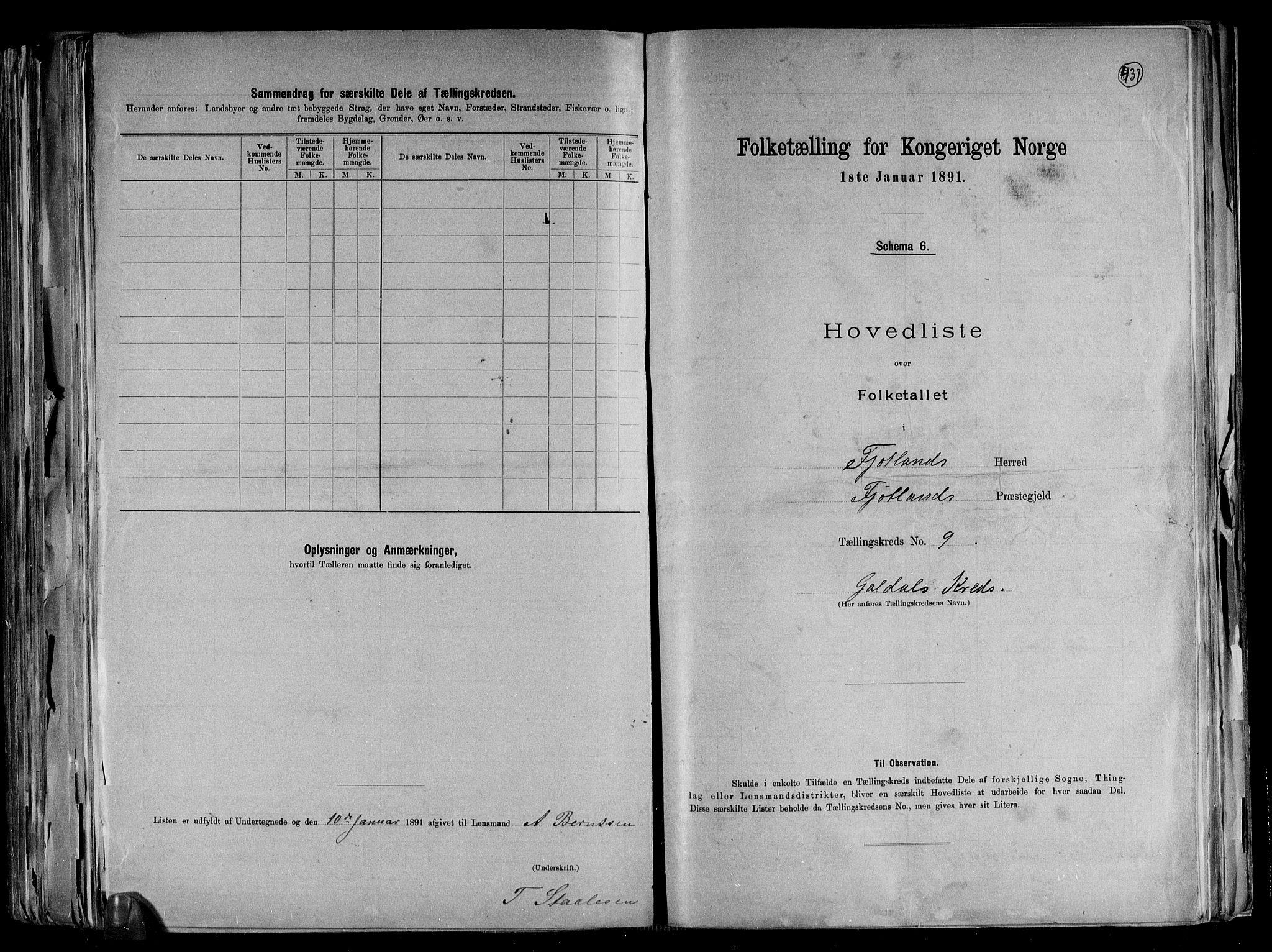 RA, Folketelling 1891 for 1036 Fjotland herred, 1891, s. 21