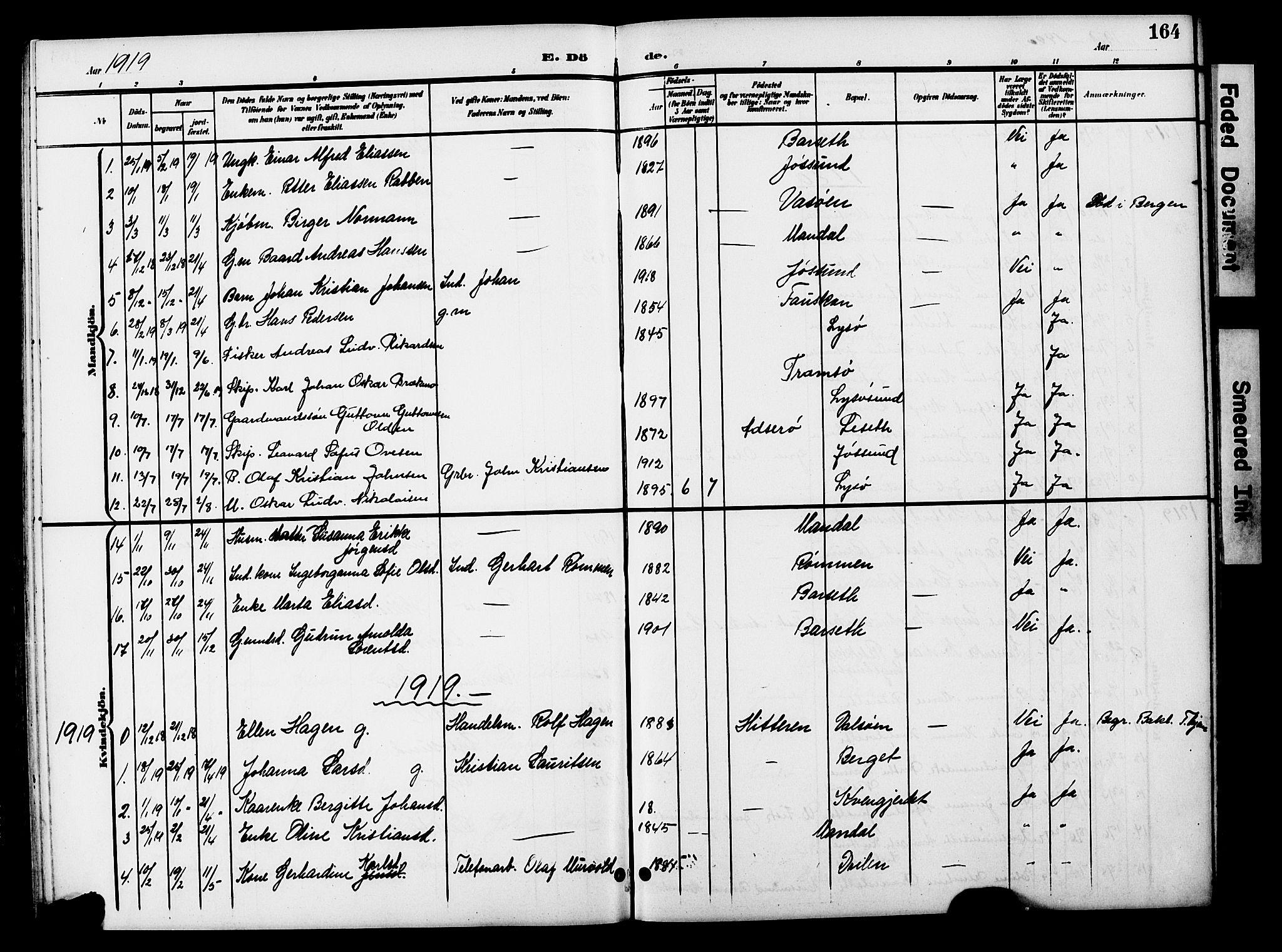 SAT, Ministerialprotokoller, klokkerbøker og fødselsregistre - Sør-Trøndelag, 654/L0666: Klokkerbok nr. 654C02, 1901-1925, s. 164