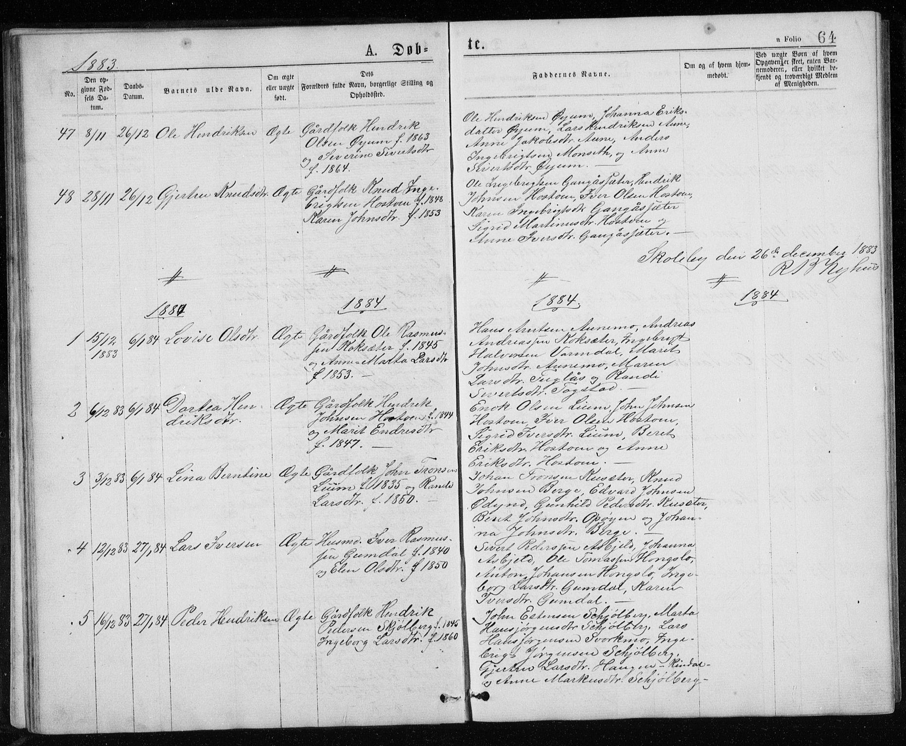 SAT, Ministerialprotokoller, klokkerbøker og fødselsregistre - Sør-Trøndelag, 671/L0843: Klokkerbok nr. 671C02, 1873-1892, s. 64