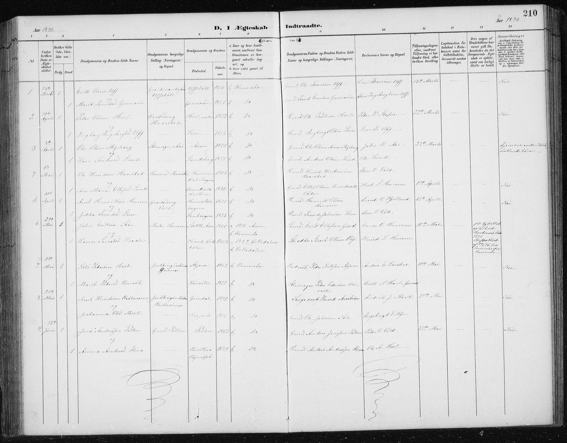 SAT, Ministerialprotokoller, klokkerbøker og fødselsregistre - Sør-Trøndelag, 674/L0876: Klokkerbok nr. 674C03, 1892-1912, s. 210