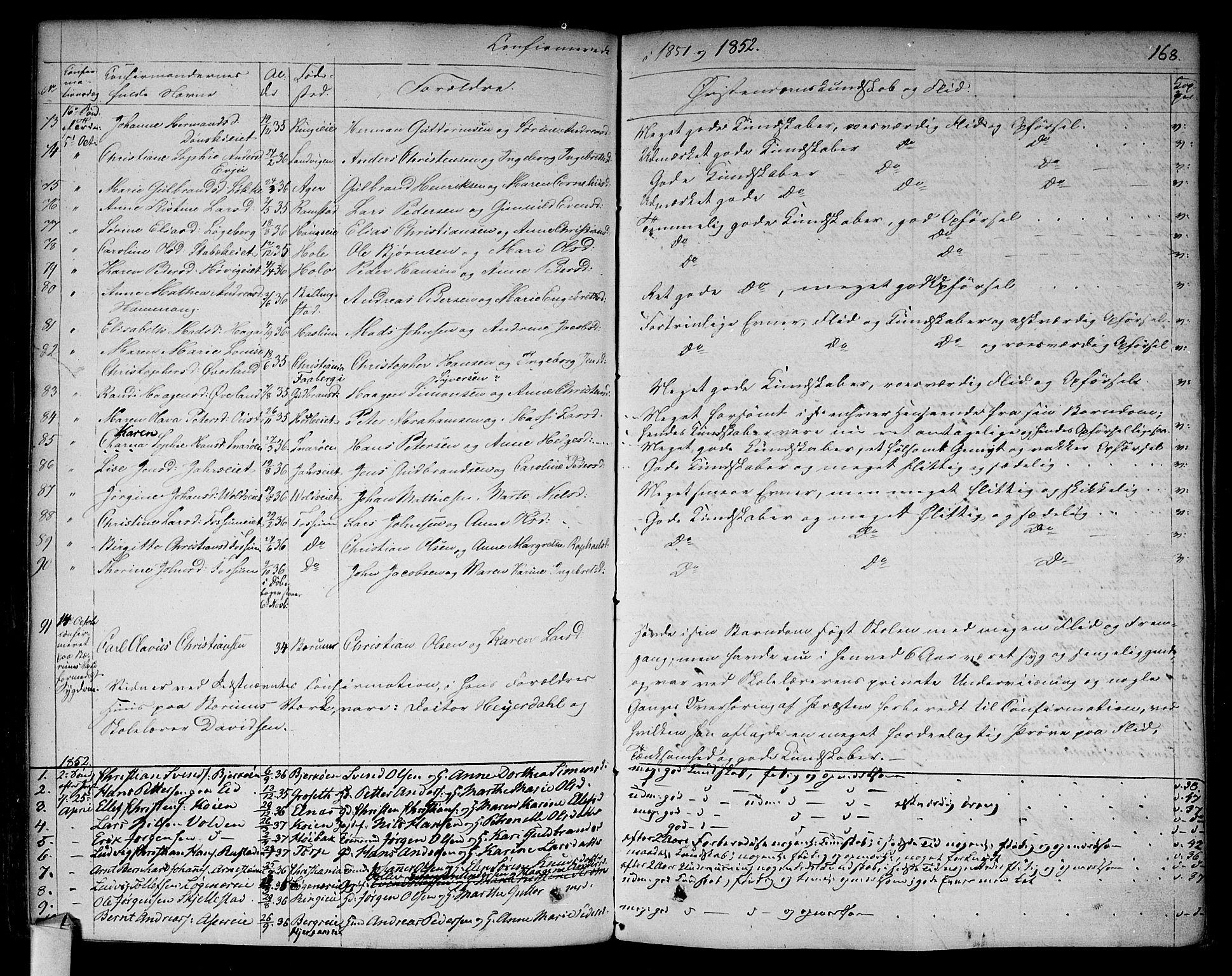 SAO, Asker prestekontor Kirkebøker, F/Fa/L0009: Ministerialbok nr. I 9, 1825-1878, s. 168