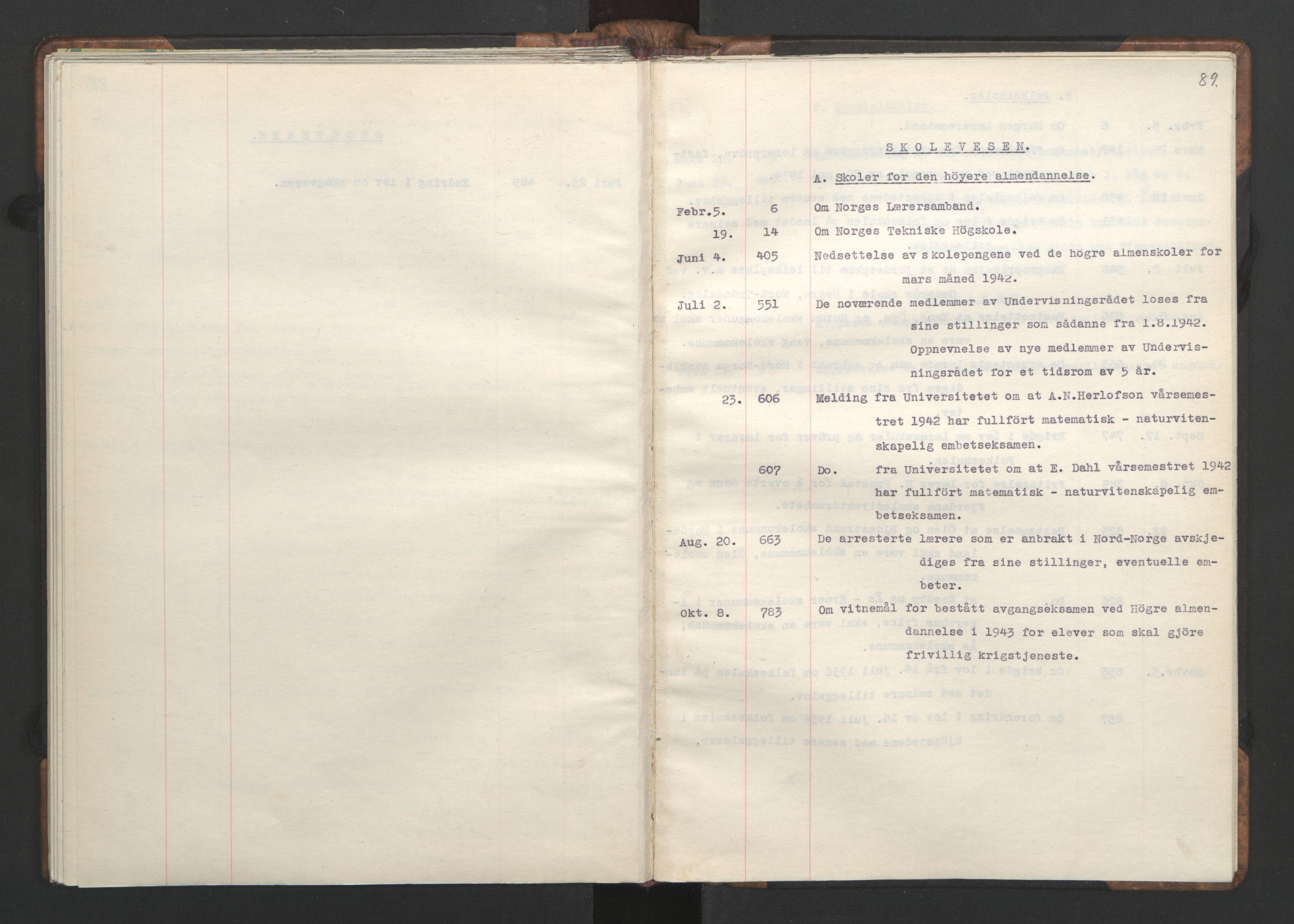 RA, NS-administrasjonen 1940-1945 (Statsrådsekretariatet, de kommisariske statsråder mm), D/Da/L0002: Register (RA j.nr. 985/1943, tilgangsnr. 17/1943), 1942, s. 88b-89a