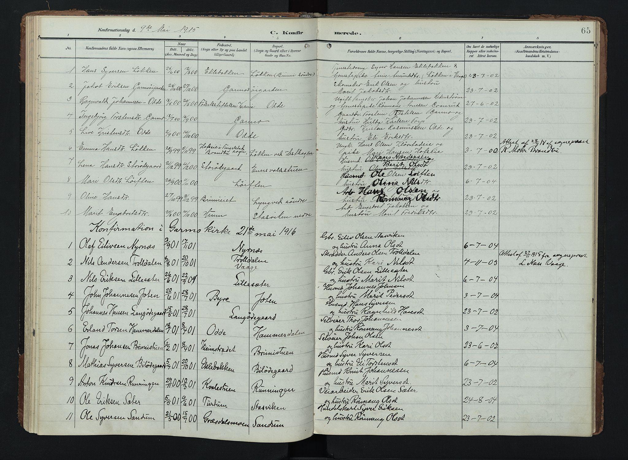 SAH, Lom prestekontor, K/L0011: Ministerialbok nr. 11, 1904-1928, s. 65