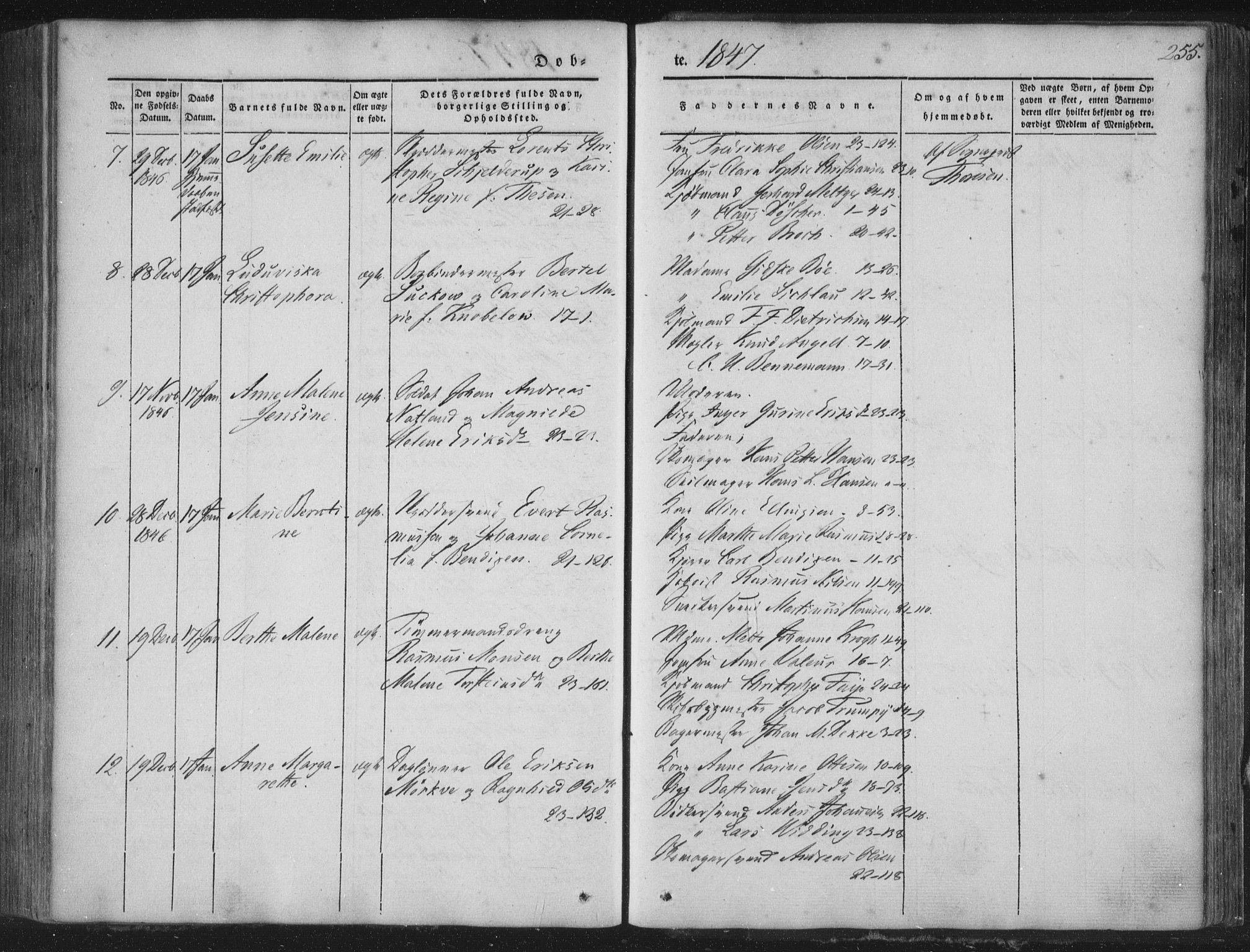 SAB, Korskirken Sokneprestembete, H/Haa/L0016: Ministerialbok nr. B 2, 1841-1851, s. 255
