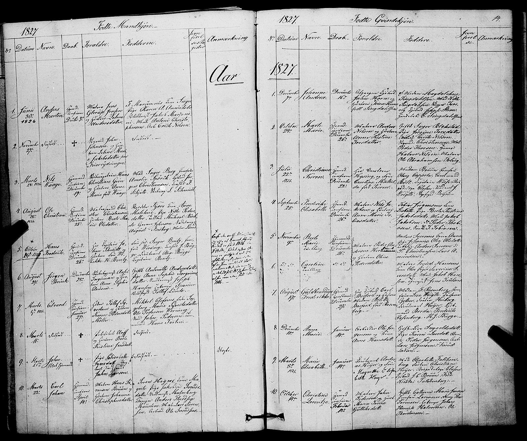 SAKO, Larvik kirkebøker, F/Fa/L0002: Ministerialbok nr. I 2, 1825-1847, s. 14