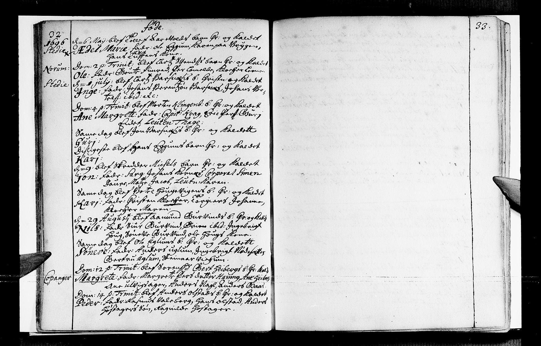 SAB, Sogndal sokneprestembete, H/Haa/Haaa/L0001: Ministerialbok nr. A 1, 1689-1713, s. 32-33