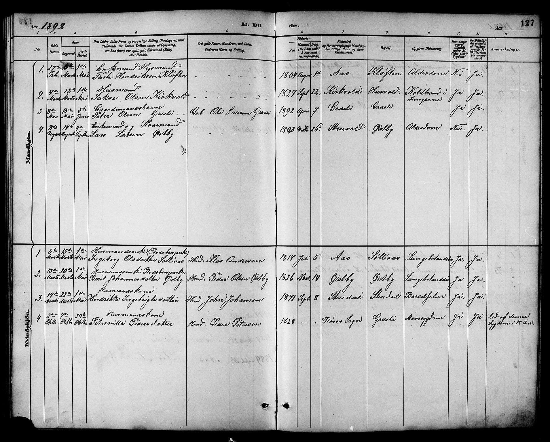 SAT, Ministerialprotokoller, klokkerbøker og fødselsregistre - Sør-Trøndelag, 698/L1167: Klokkerbok nr. 698C04, 1888-1907, s. 127