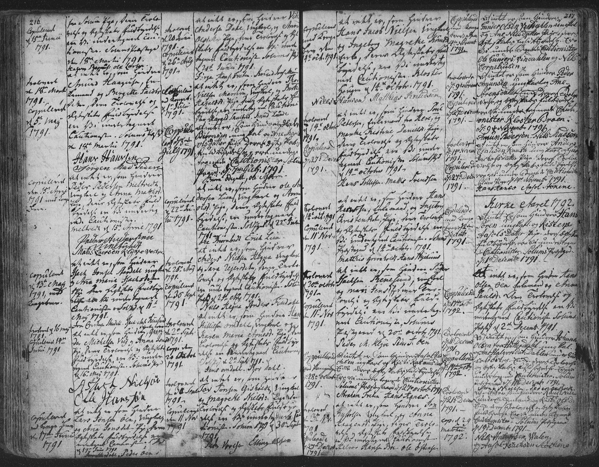 SAKO, Solum kirkebøker, F/Fa/L0003: Ministerialbok nr. I 3, 1761-1814, s. 216-217