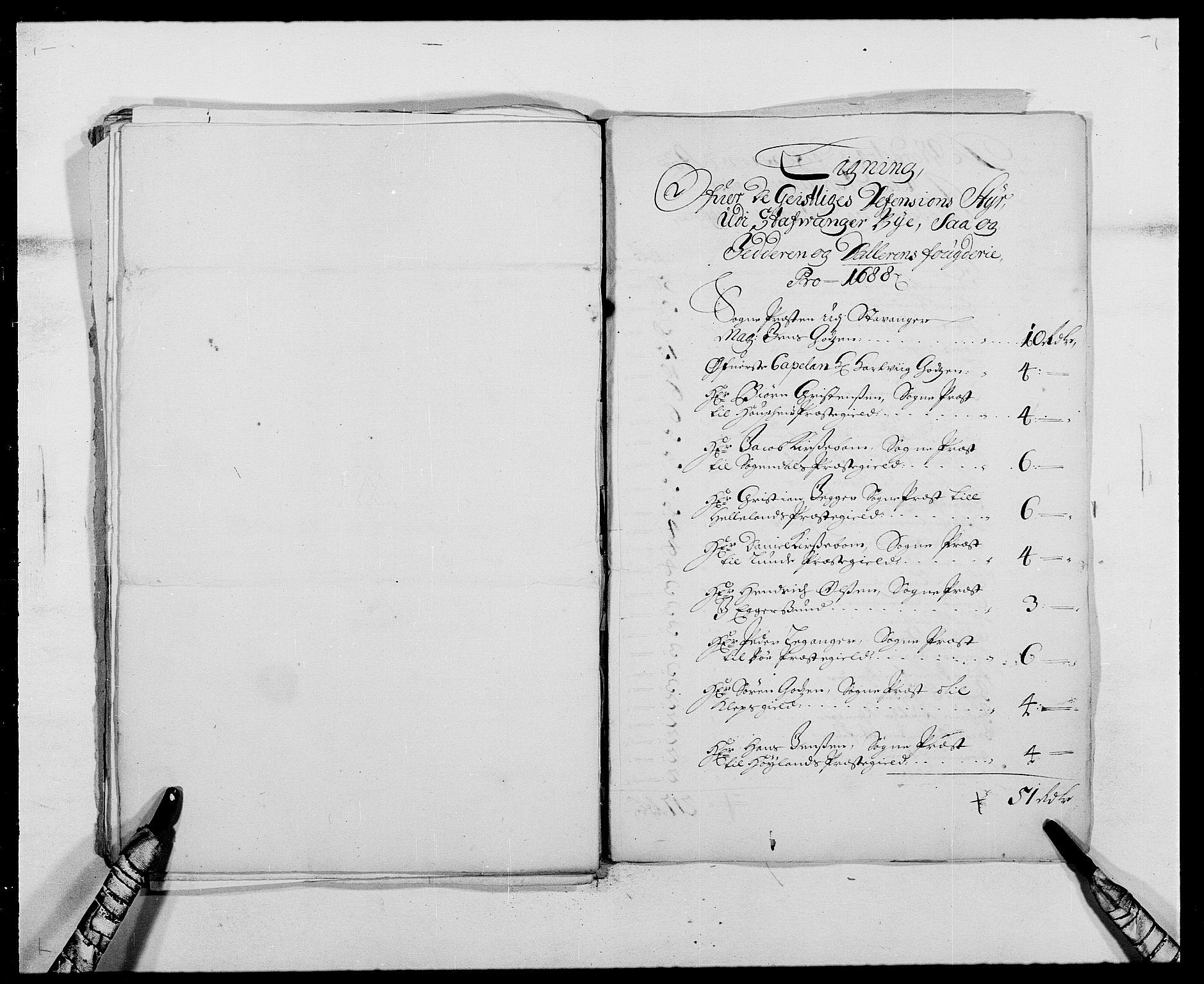 RA, Rentekammeret inntil 1814, Reviderte regnskaper, Fogderegnskap, R46/L2726: Fogderegnskap Jæren og Dalane, 1686-1689, s. 277