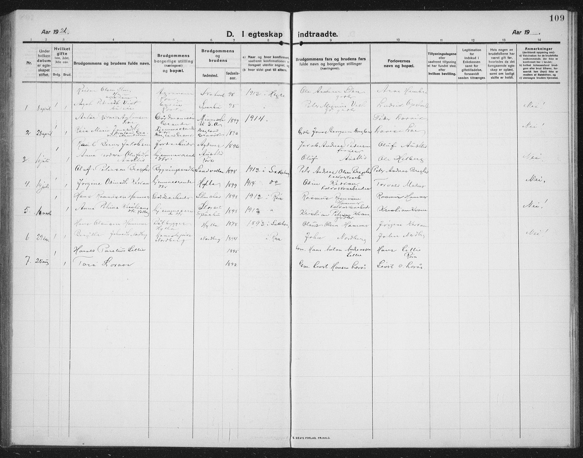 SAT, Ministerialprotokoller, klokkerbøker og fødselsregistre - Nord-Trøndelag, 731/L0312: Klokkerbok nr. 731C03, 1911-1935, s. 109