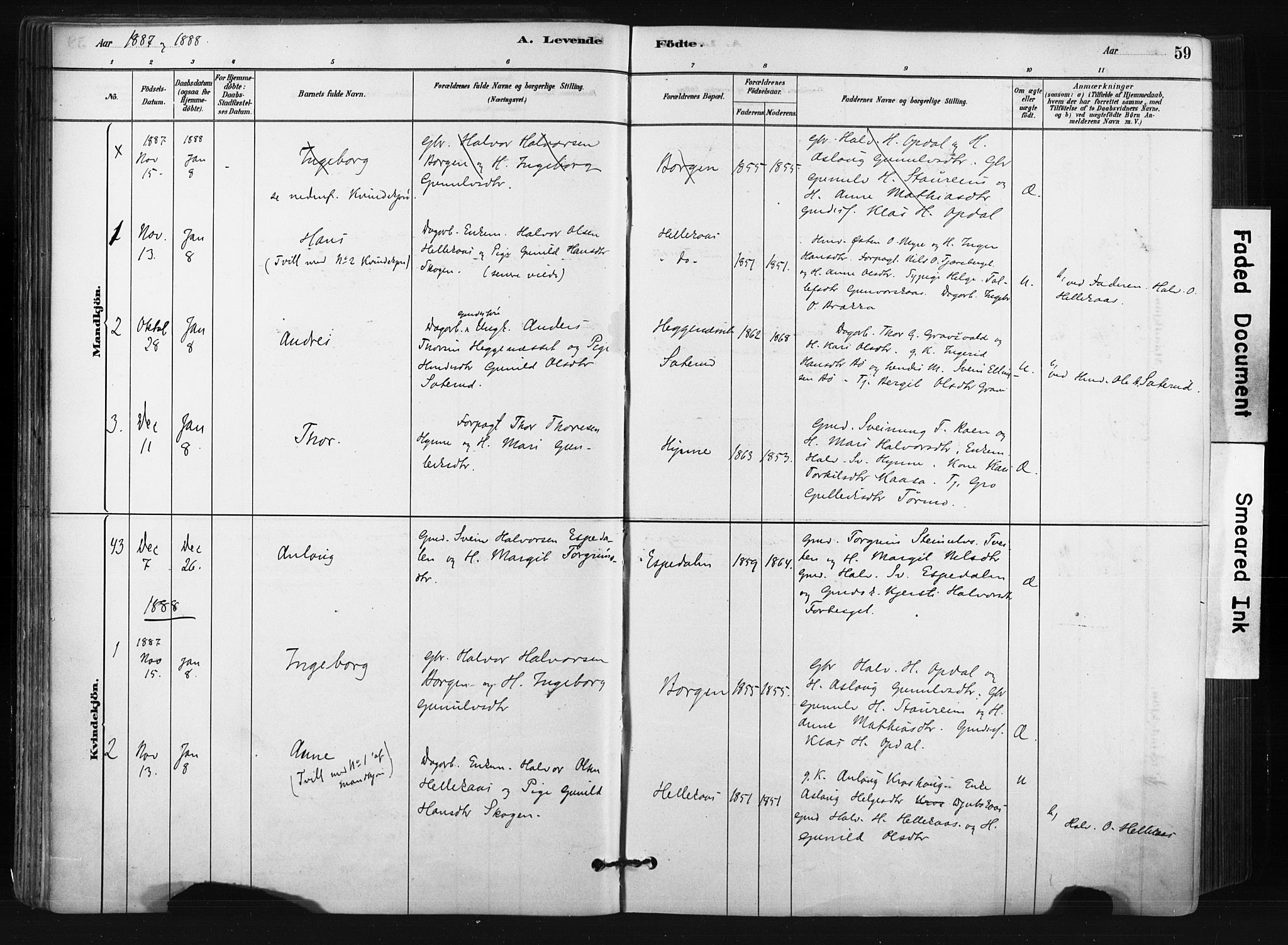 SAKO, Bø kirkebøker, F/Fa/L0010: Ministerialbok nr. 10, 1880-1892, s. 59