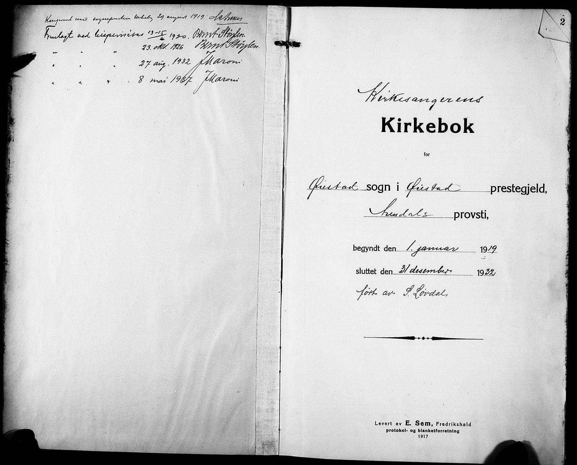 SAK, Øyestad sokneprestkontor, F/Fb/L0012: Klokkerbok nr. B 12, 1919-1932, s. 1