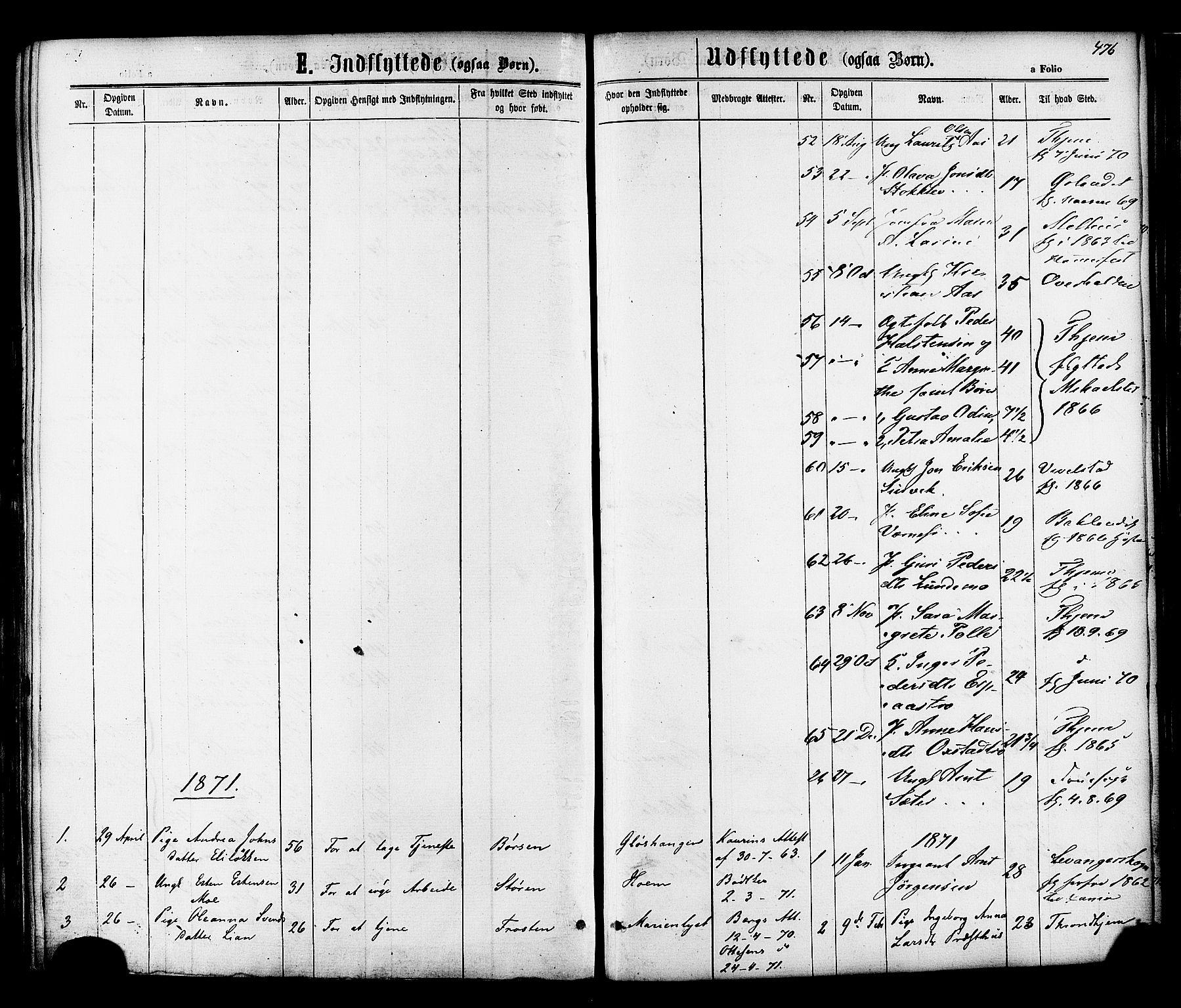 SAT, Ministerialprotokoller, klokkerbøker og fødselsregistre - Sør-Trøndelag, 606/L0293: Ministerialbok nr. 606A08, 1866-1877, s. 476