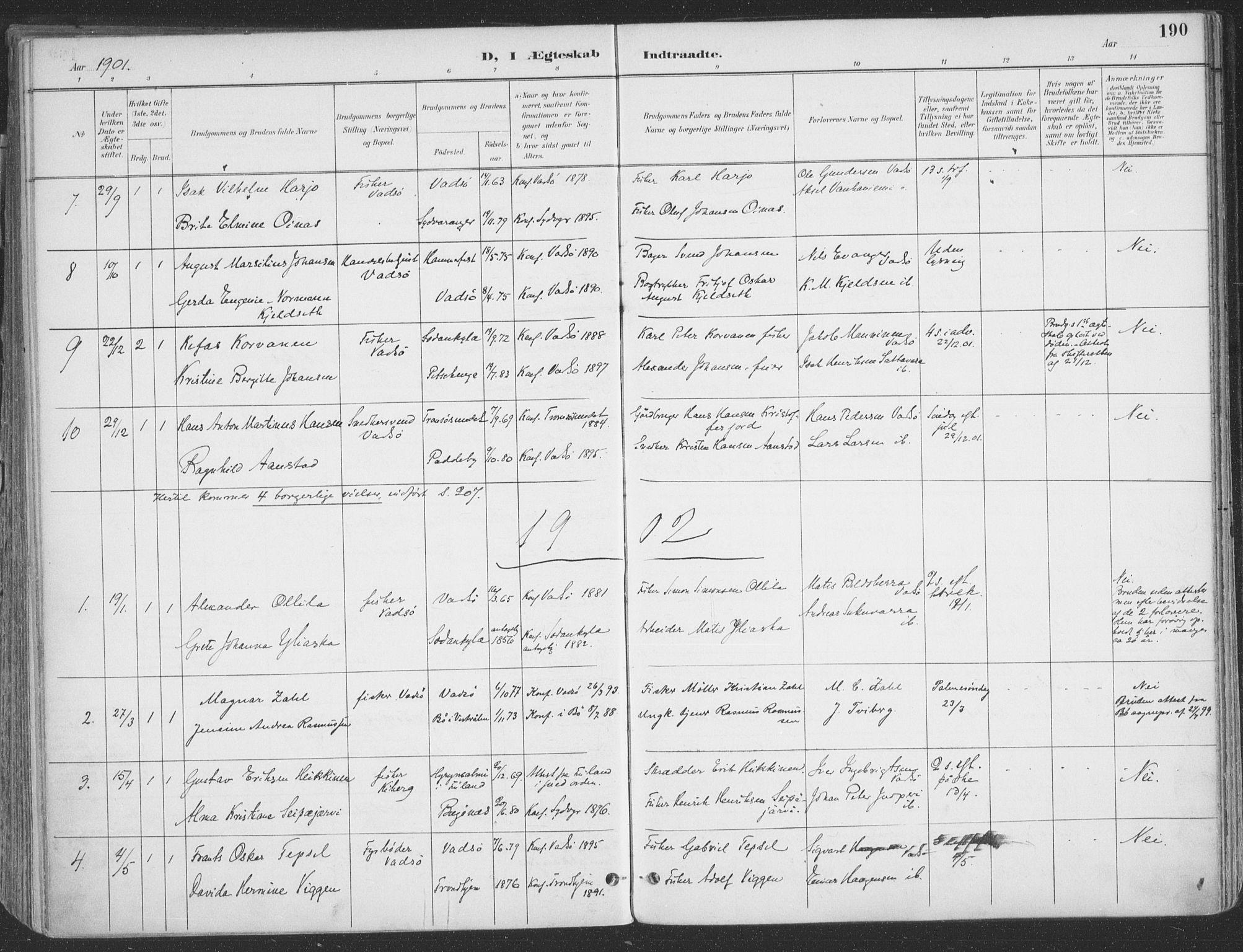 SATØ, Vadsø sokneprestkontor, H/Ha/L0007kirke: Ministerialbok nr. 7, 1896-1916, s. 190