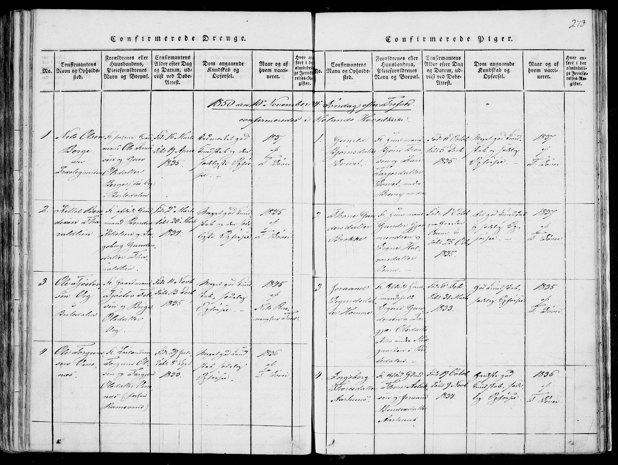 SAKO, Fyresdal kirkebøker, F/Fa/L0004: Ministerialbok nr. I 4, 1815-1854, s. 273