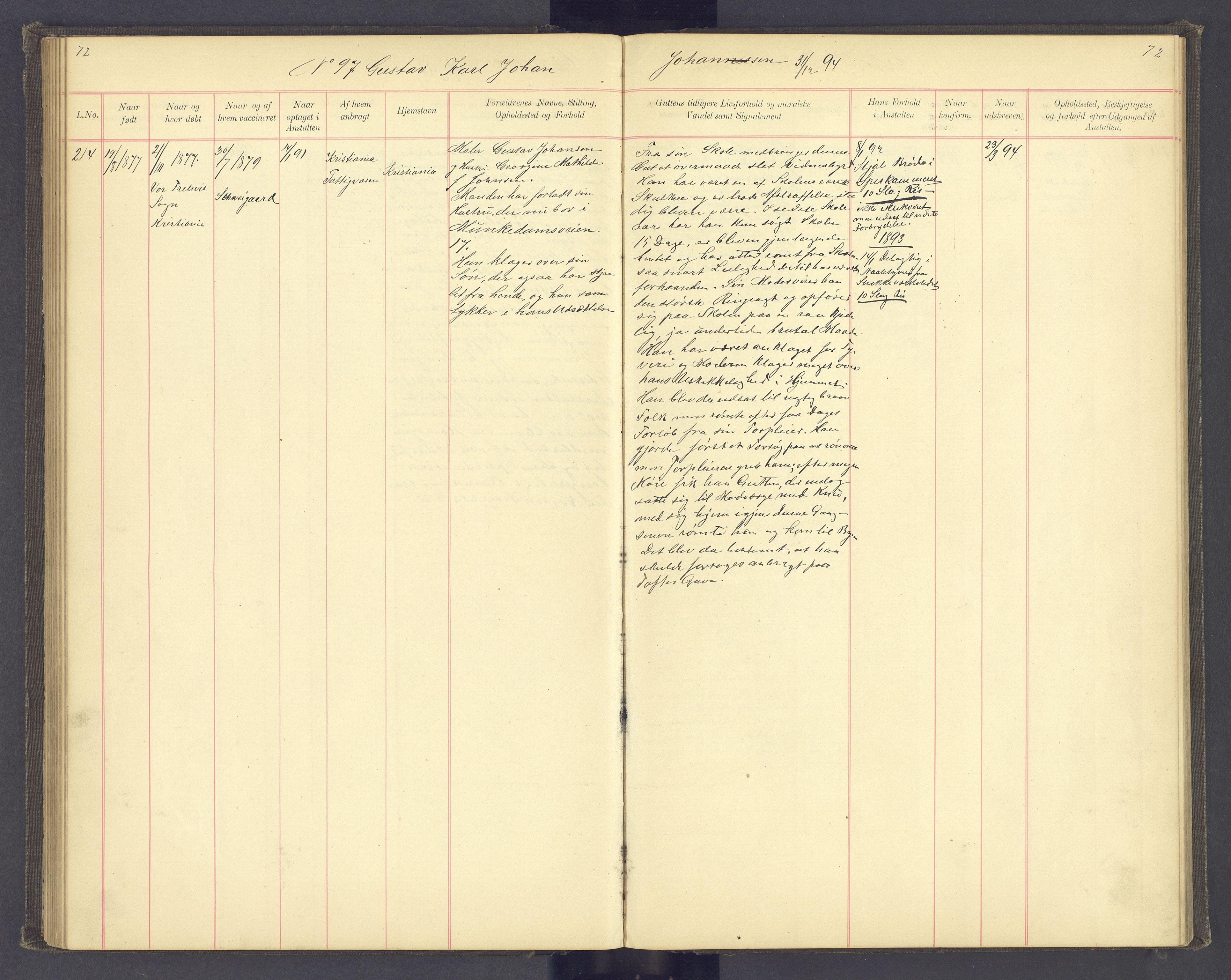 SAH, Toftes Gave, F/Fc/L0004: Elevprotokoll, 1885-1897, s. 72