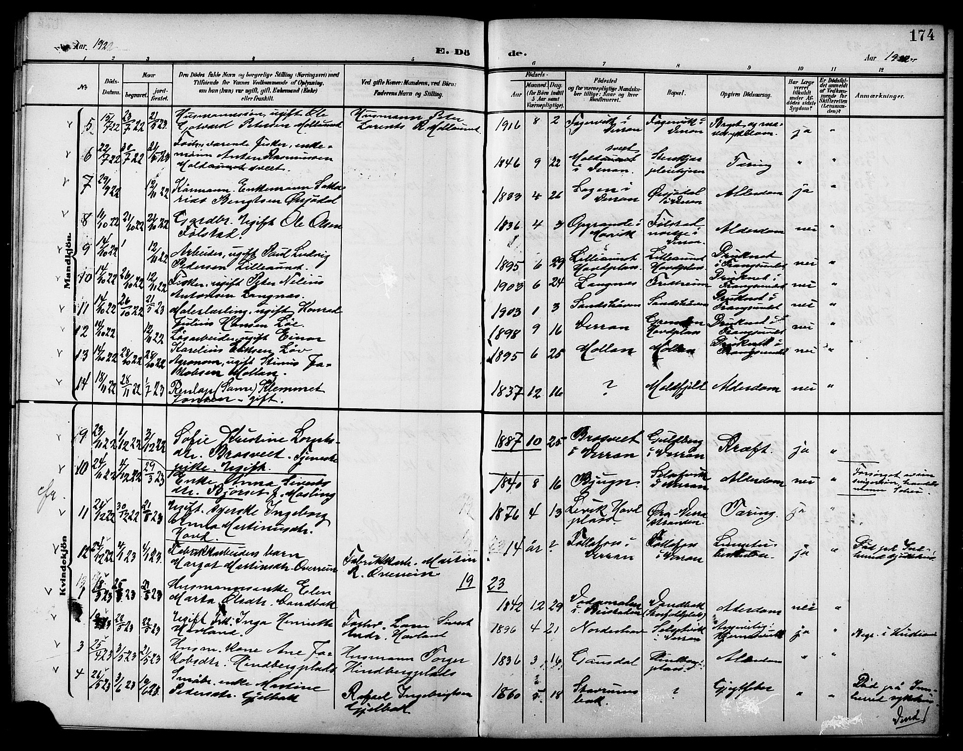 SAT, Ministerialprotokoller, klokkerbøker og fødselsregistre - Nord-Trøndelag, 744/L0424: Klokkerbok nr. 744C03, 1906-1923, s. 174