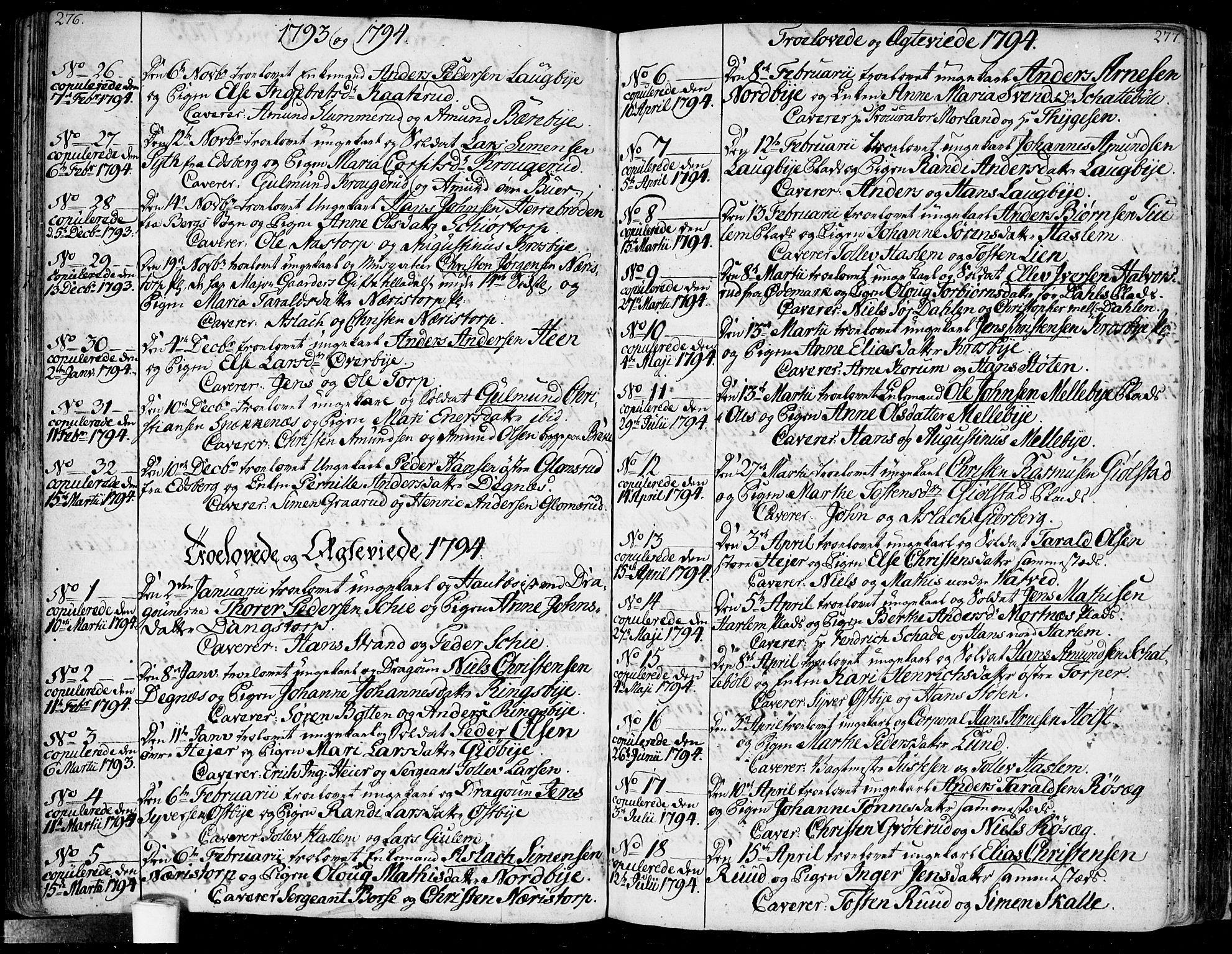 SAO, Rakkestad prestekontor Kirkebøker, F/Fa/L0005: Ministerialbok nr. I 5, 1784-1814, s. 276-277