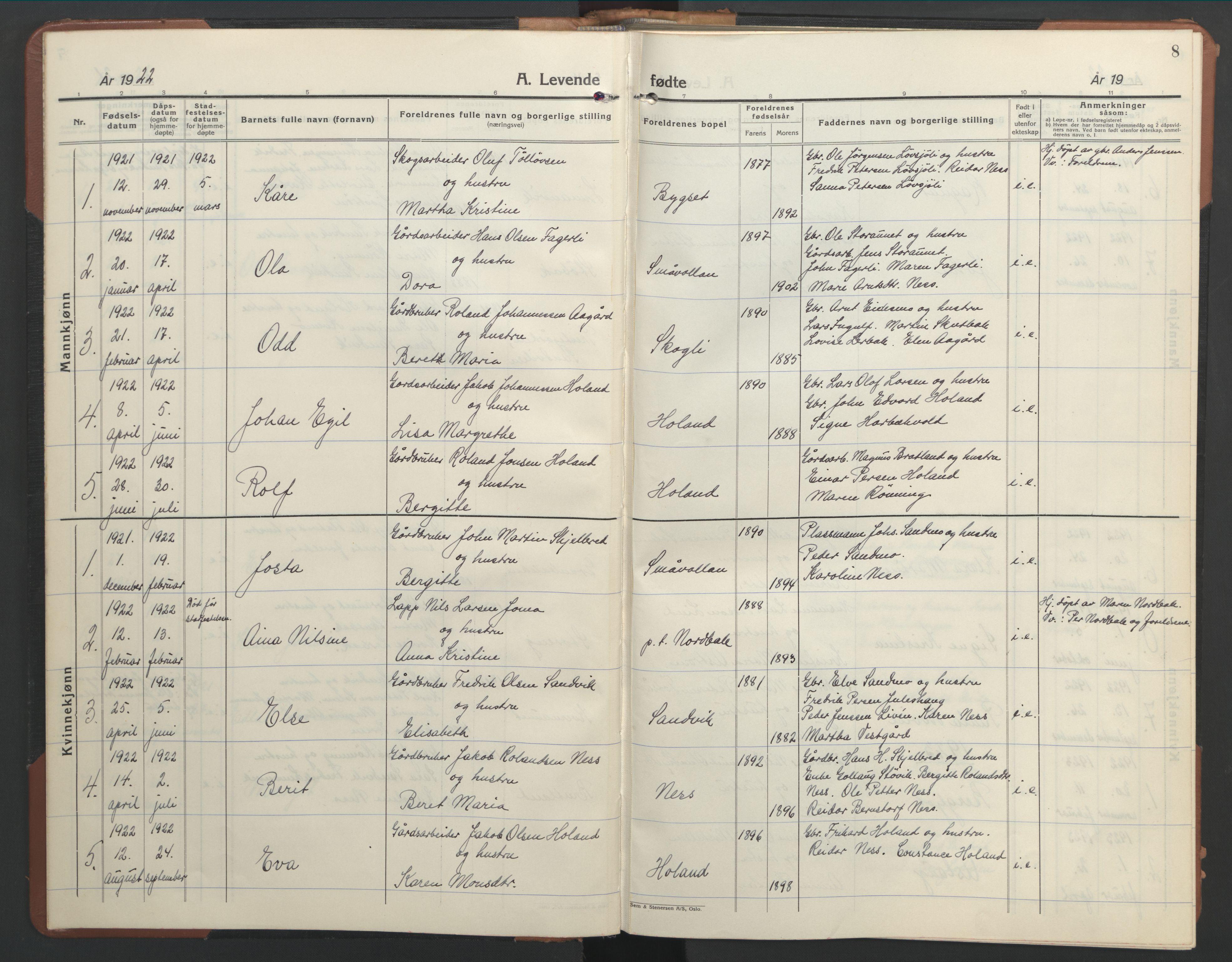 SAT, Ministerialprotokoller, klokkerbøker og fødselsregistre - Nord-Trøndelag, 755/L0500: Klokkerbok nr. 755C01, 1920-1962, s. 8