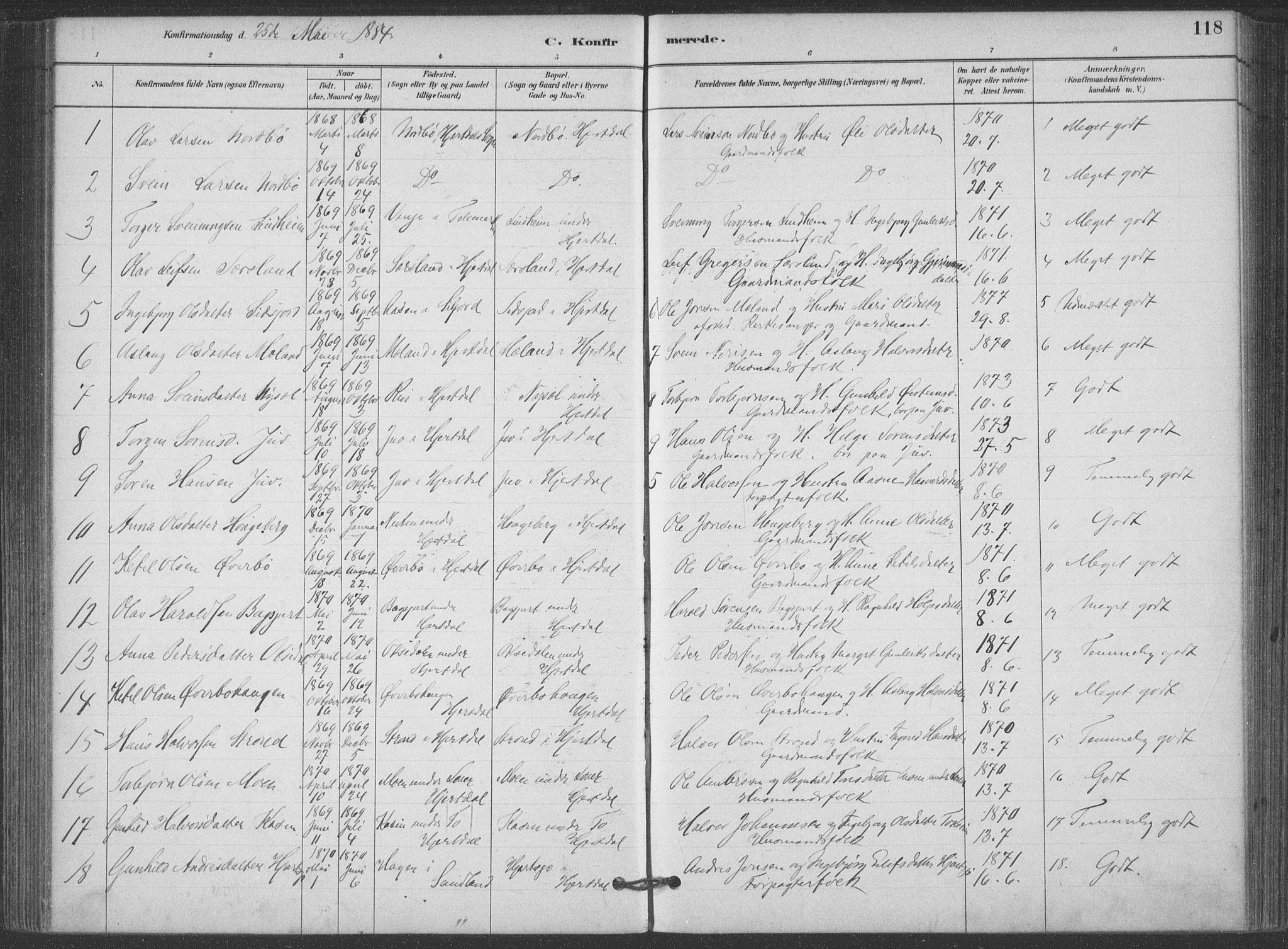 SAKO, Hjartdal kirkebøker, F/Fa/L0010: Ministerialbok nr. I 10, 1880-1929, s. 118