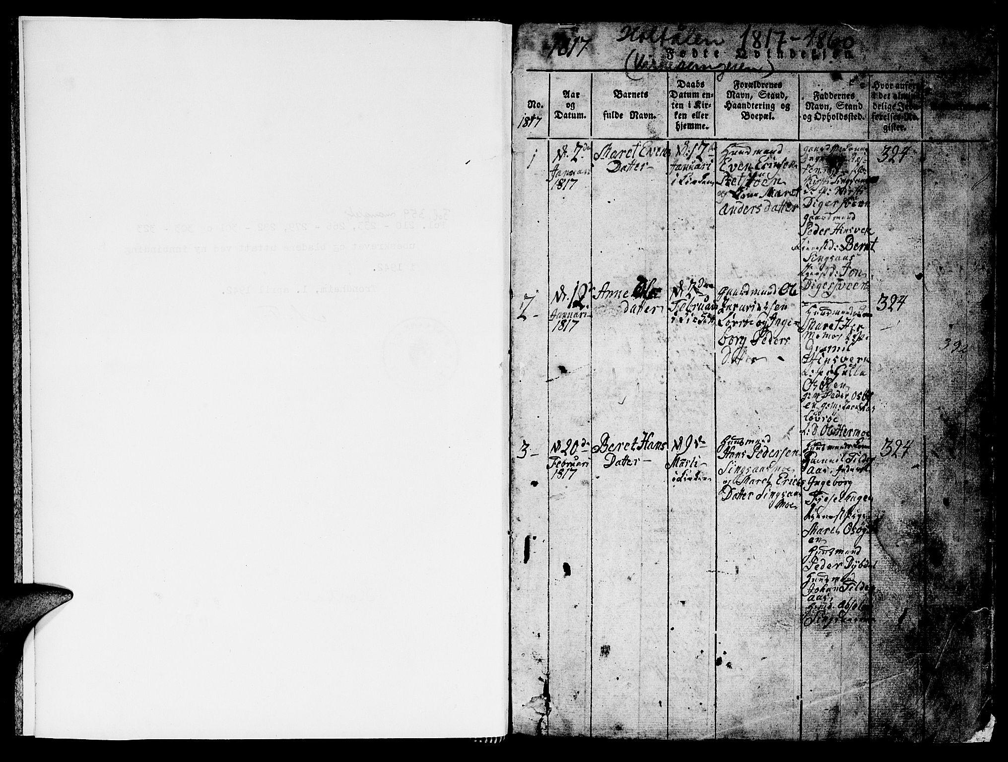 SAT, Ministerialprotokoller, klokkerbøker og fødselsregistre - Sør-Trøndelag, 688/L1026: Klokkerbok nr. 688C01, 1817-1860, s. 1