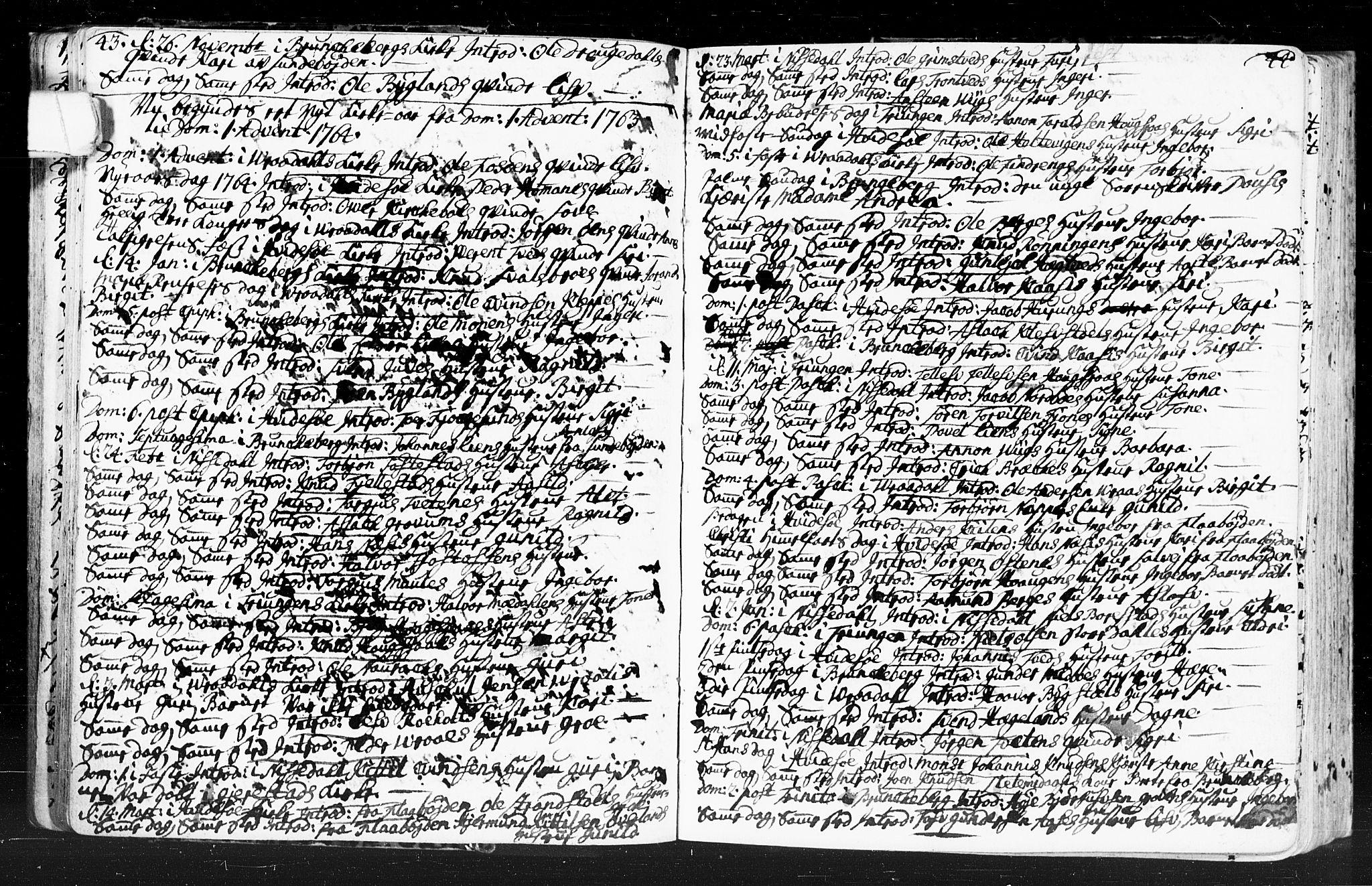 SAKO, Kviteseid kirkebøker, F/Fa/L0001: Ministerialbok nr. I 1, 1754-1773, s. 43-44