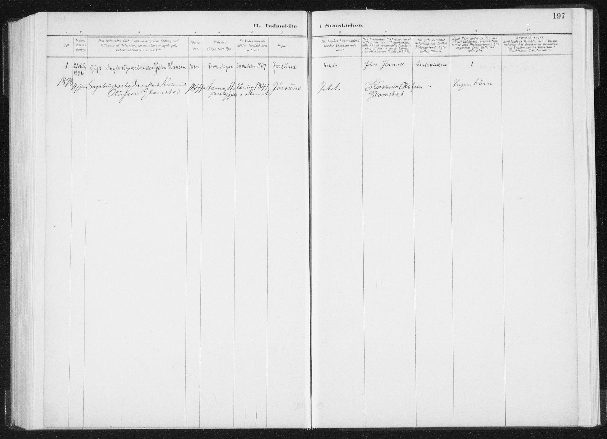 SAT, Ministerialprotokoller, klokkerbøker og fødselsregistre - Nord-Trøndelag, 771/L0597: Ministerialbok nr. 771A04, 1885-1910, s. 197