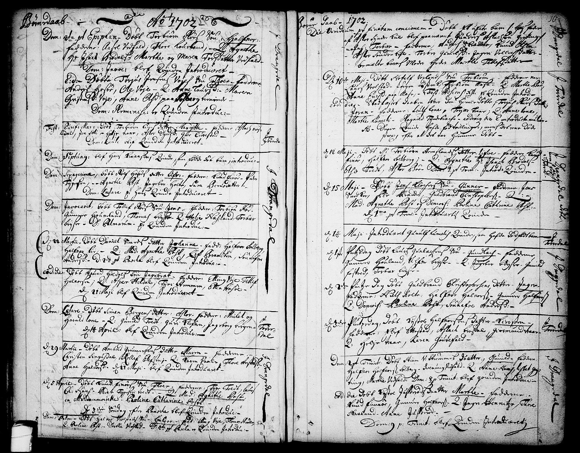 SAKO, Drangedal kirkebøker, F/Fa/L0001: Ministerialbok nr. 1, 1697-1767, s. 10