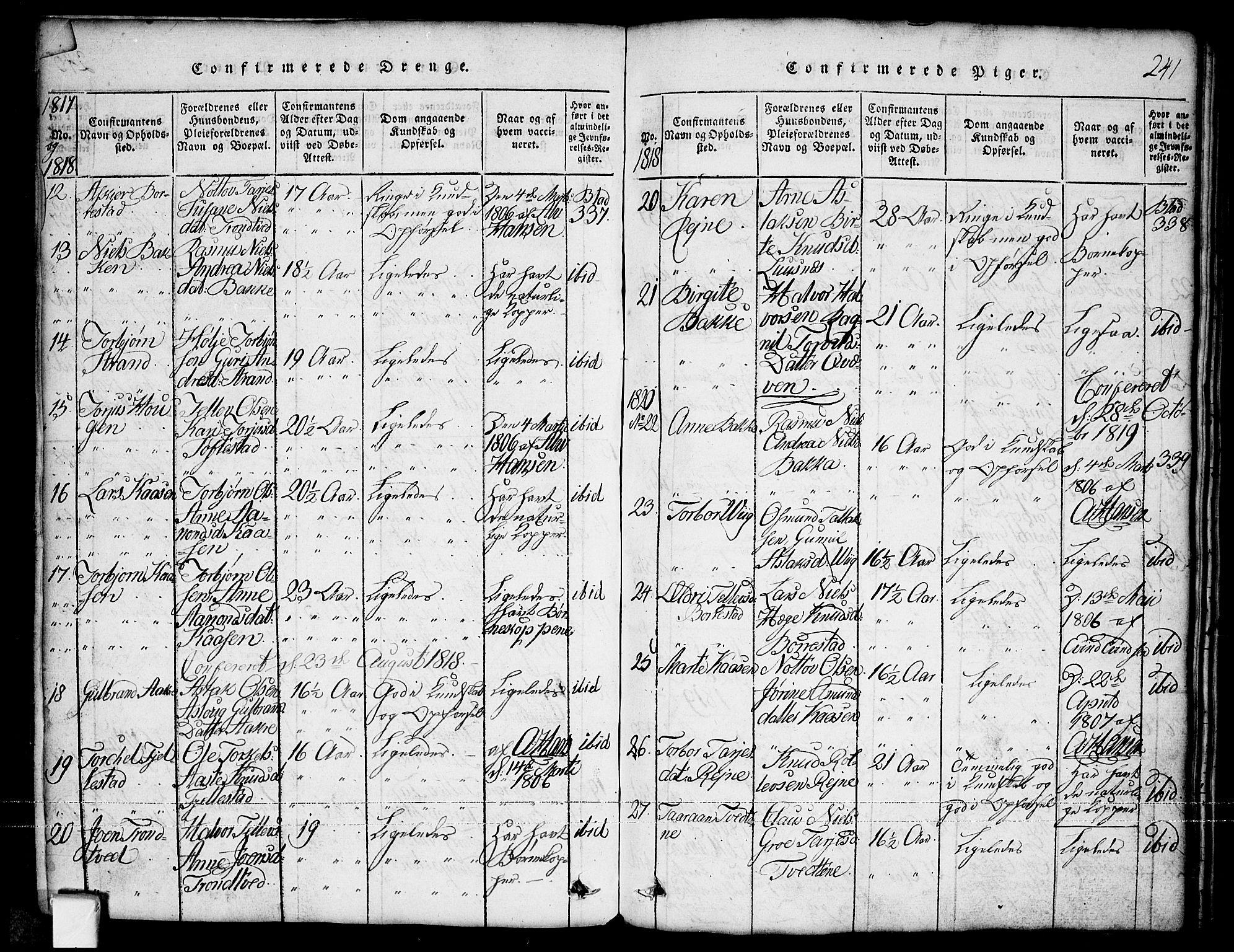 SAKO, Nissedal kirkebøker, G/Ga/L0001: Klokkerbok nr. I 1, 1814-1860, s. 241