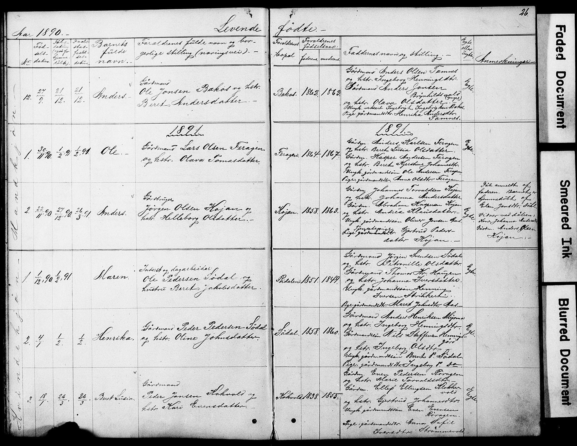 SAT, Ministerialprotokoller, klokkerbøker og fødselsregistre - Sør-Trøndelag, 683/L0949: Klokkerbok nr. 683C01, 1880-1896, s. 26