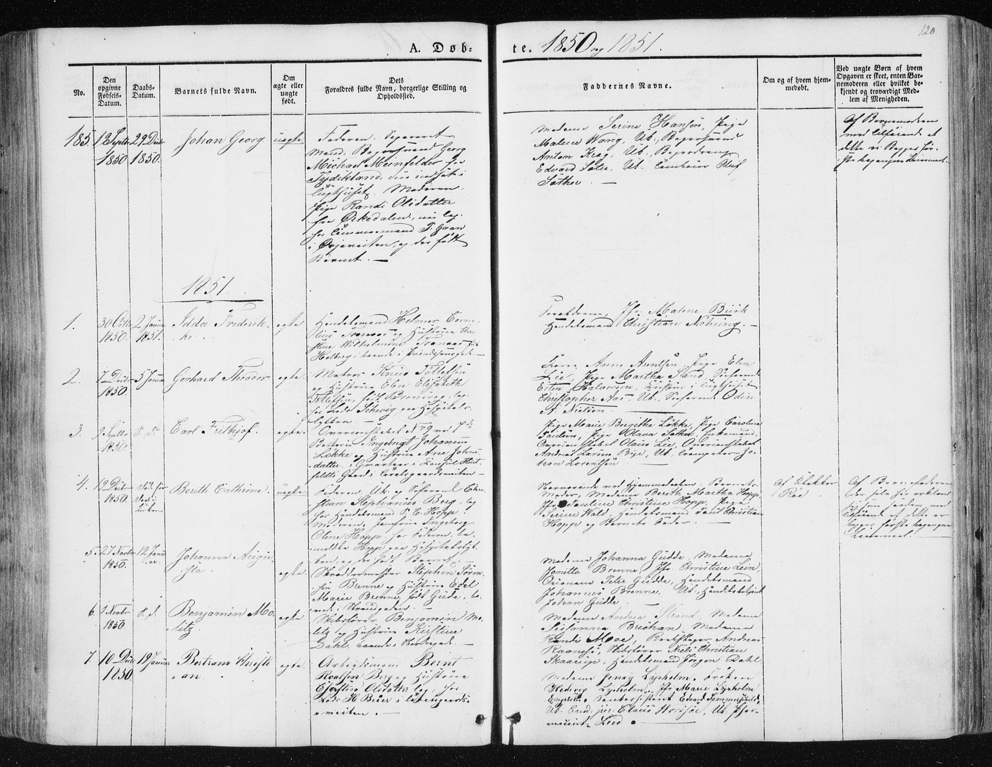 SAT, Ministerialprotokoller, klokkerbøker og fødselsregistre - Sør-Trøndelag, 602/L0110: Ministerialbok nr. 602A08, 1840-1854, s. 120