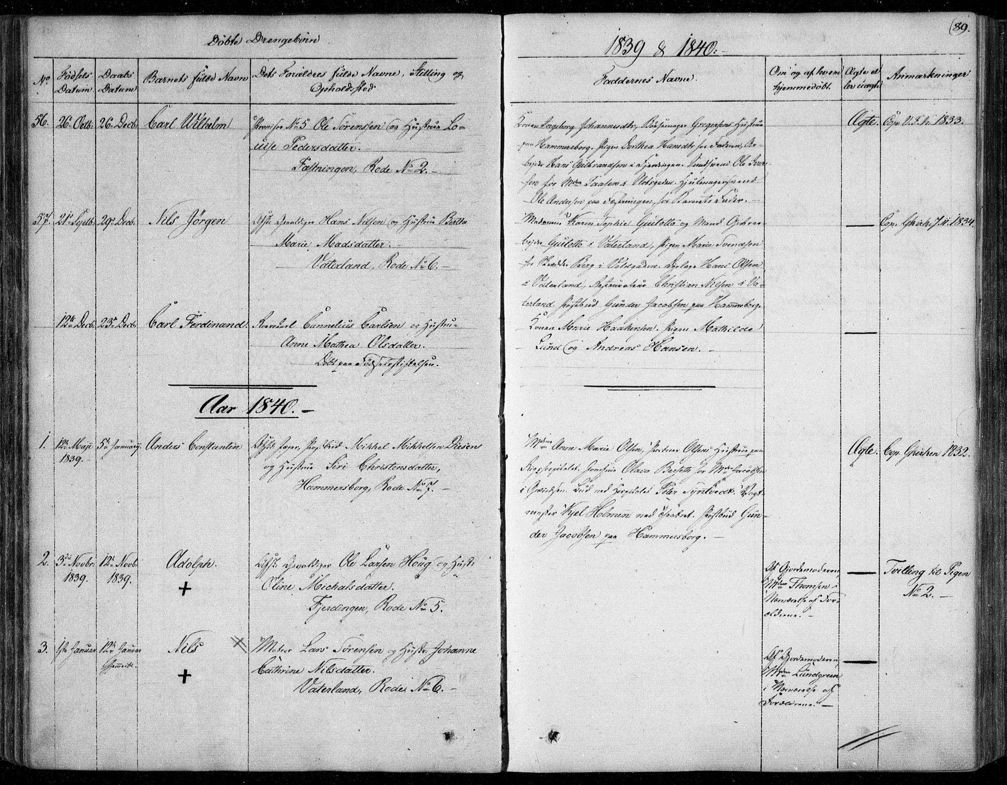 SAO, Garnisonsmenigheten Kirkebøker, F/Fa/L0006: Ministerialbok nr. 6, 1828-1841, s. 89