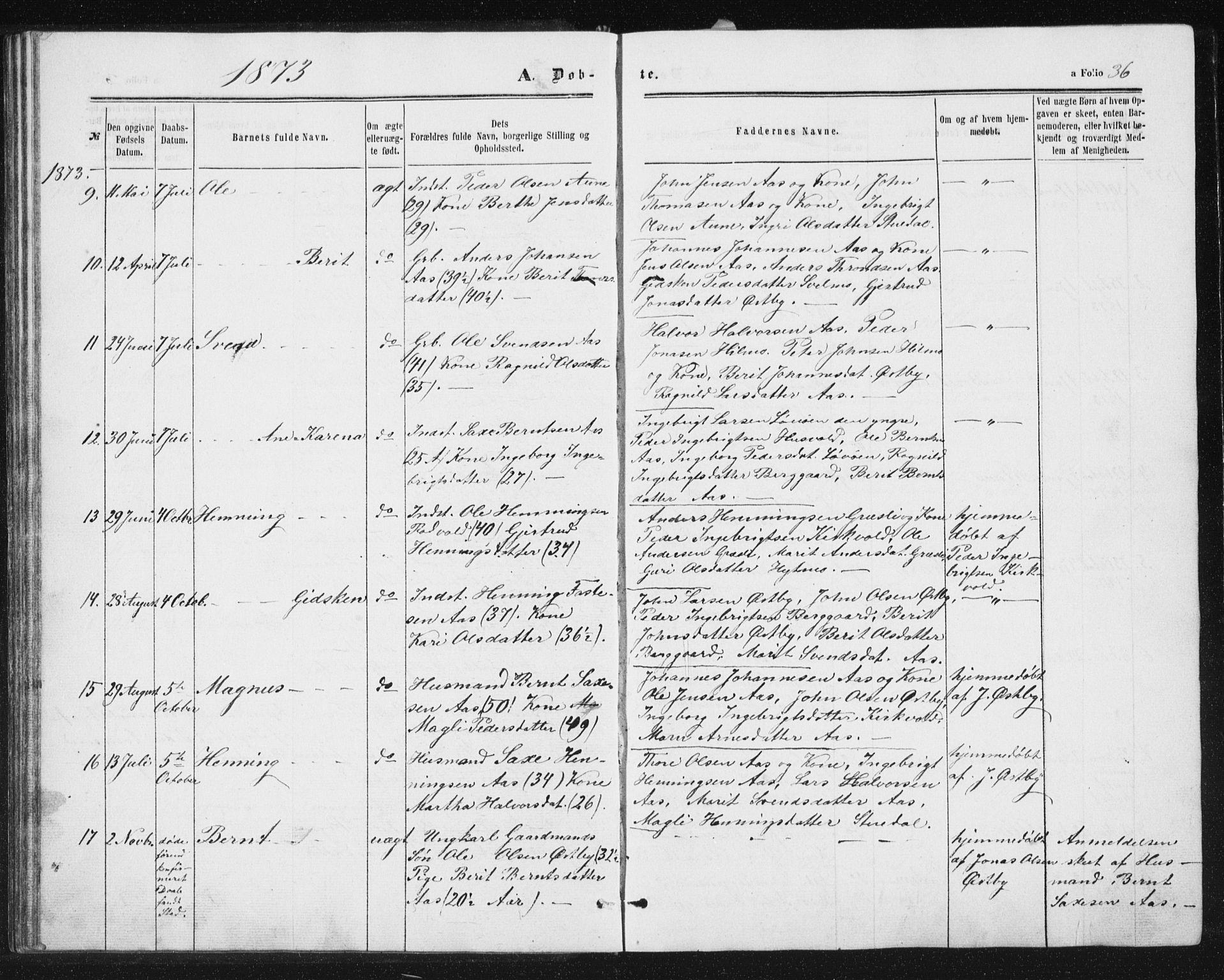 SAT, Ministerialprotokoller, klokkerbøker og fødselsregistre - Sør-Trøndelag, 698/L1166: Klokkerbok nr. 698C03, 1861-1887, s. 36