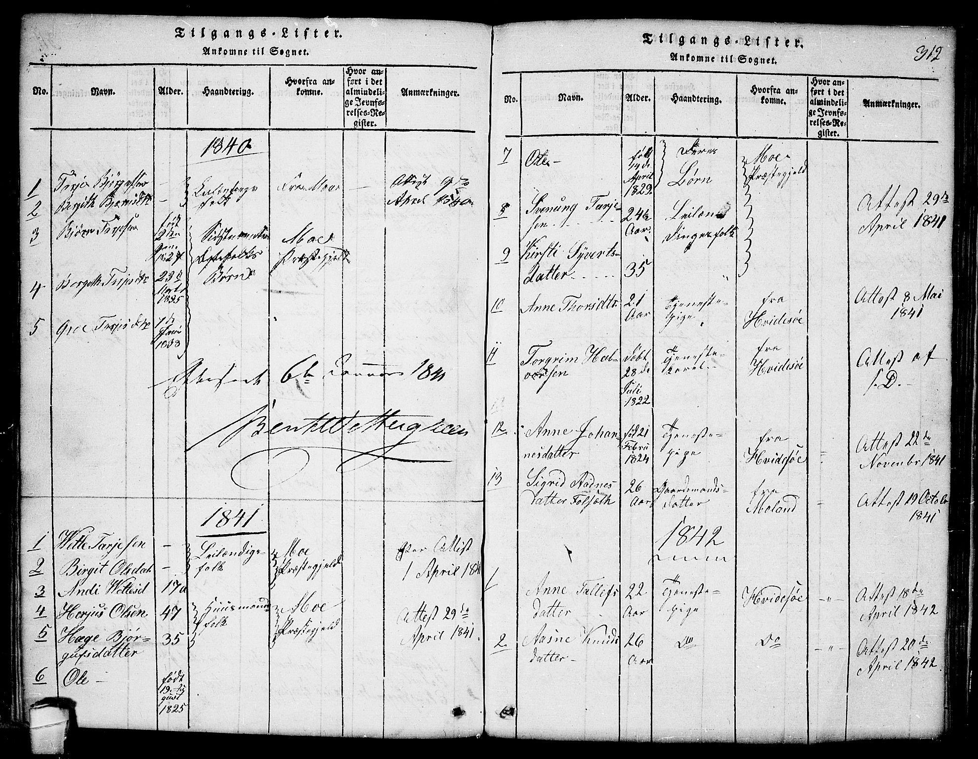 SAKO, Lårdal kirkebøker, G/Ga/L0001: Klokkerbok nr. I 1, 1815-1861, s. 312