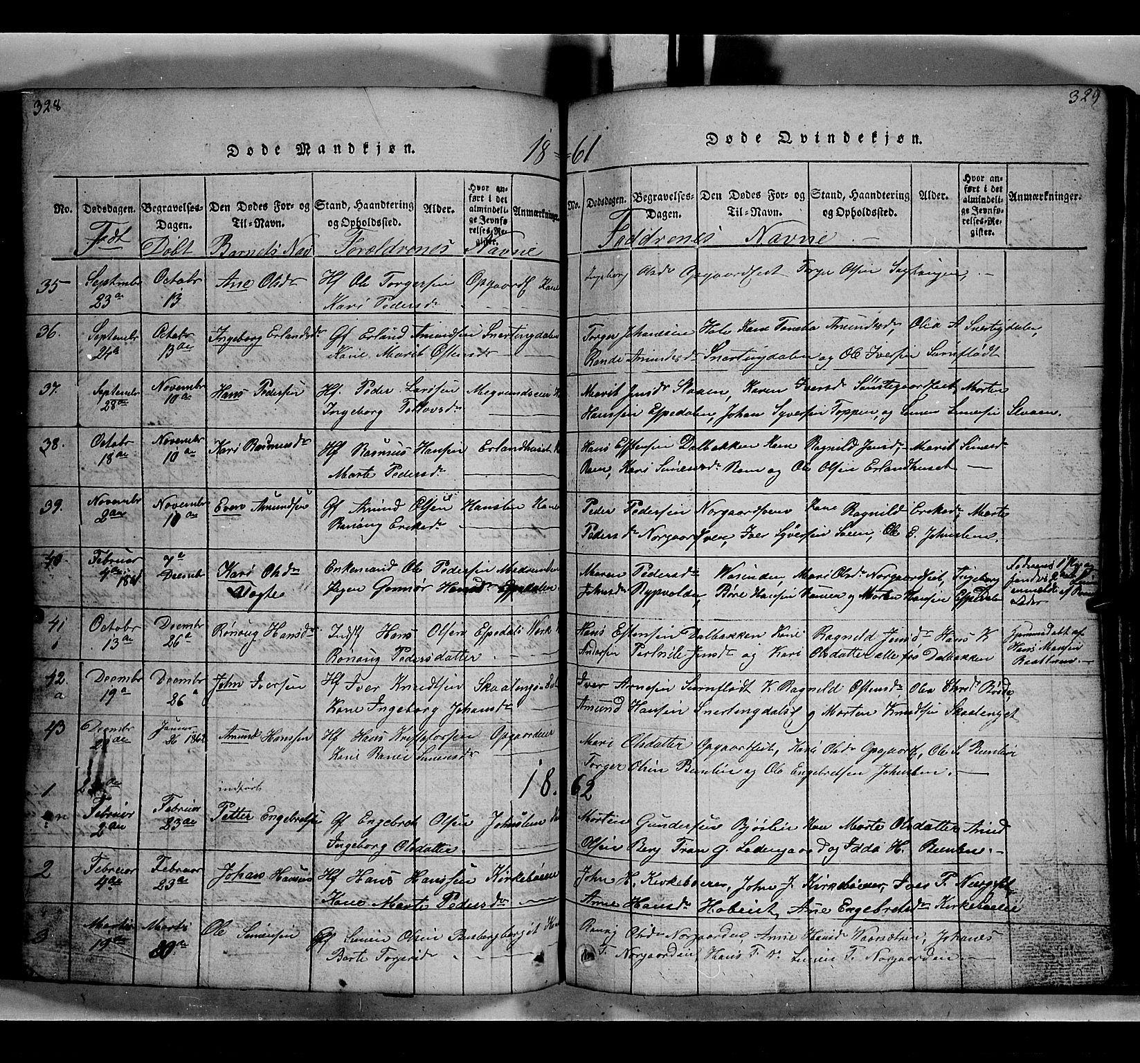 SAH, Gausdal prestekontor, Klokkerbok nr. 2, 1818-1874, s. 328-329