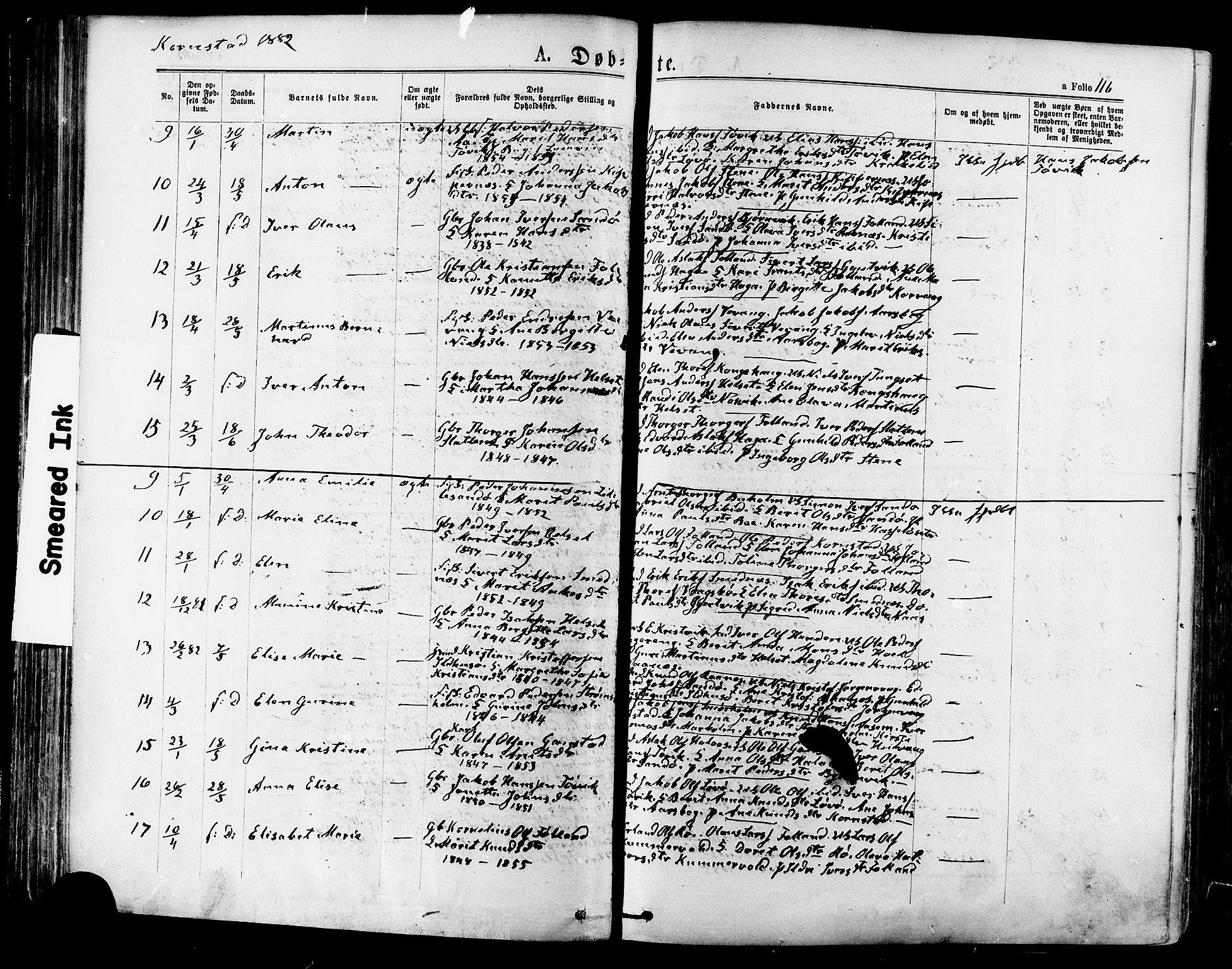 SAT, Ministerialprotokoller, klokkerbøker og fødselsregistre - Møre og Romsdal, 568/L0806: Ministerialbok nr. 568A12 /2, 1878-1884, s. 116